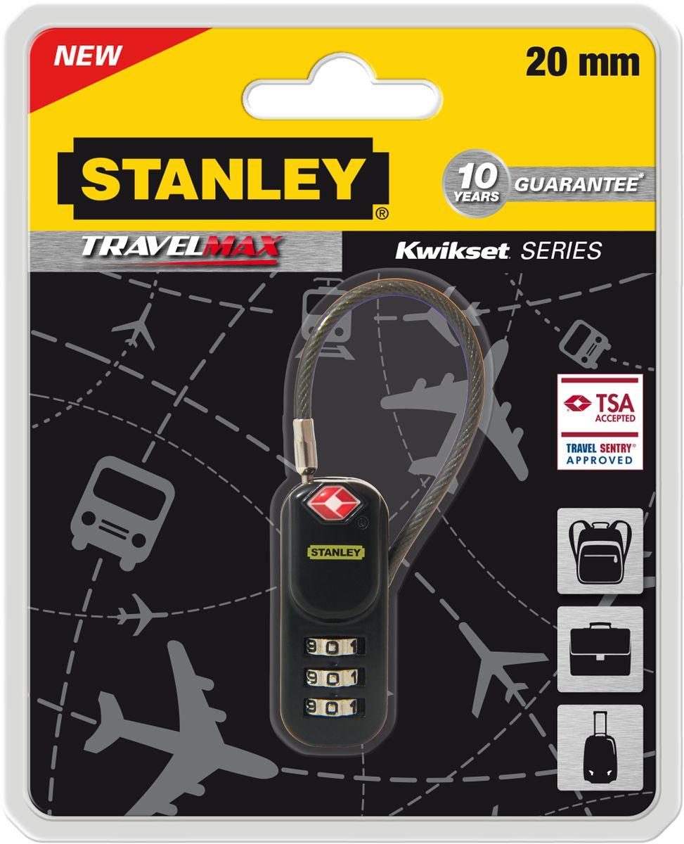 Замок Stanley с 3-х значным кодом, 20 мм, черный TSA гибкая дужка. S742-060S742-060Замки для путешествий Travell Max