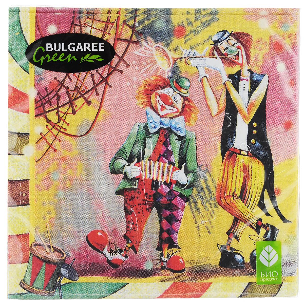 Салфетки бумажные Bulgaree Green Клоун, трехслойные, 33 х 33 см, 20 шт1001835Декоративные трехслойные салфетки Bulgaree Green Клоун выполнены из 100% целлюлозы европейского качества и оформлены ярким рисунком. Изделия станут отличным дополнением любого праздничного стола. Они отличаются необычной мягкостью, прочностью и оригинальностью. Размер салфеток в развернутом виде: 33 х 33 см.