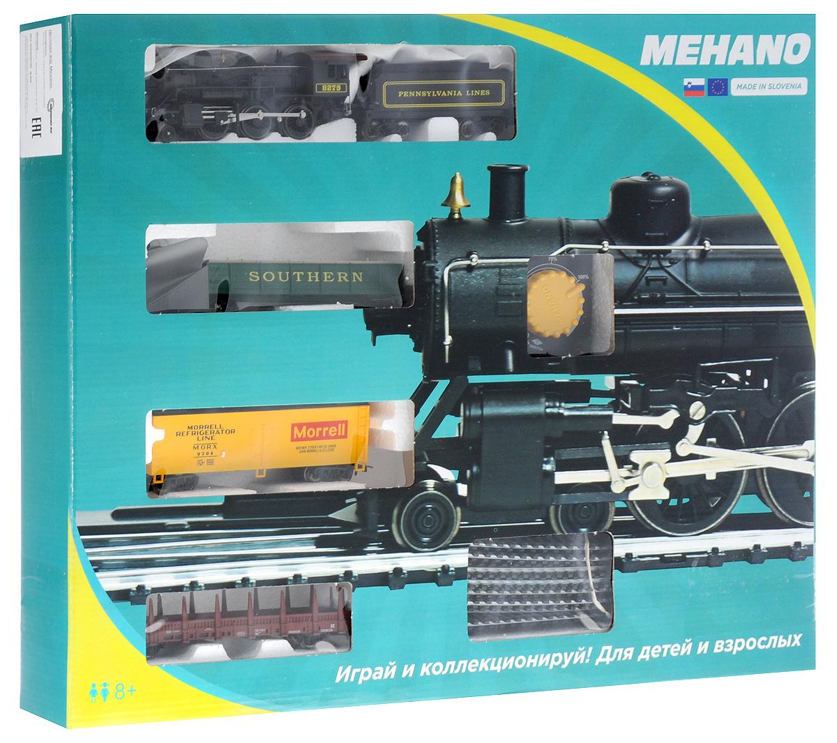 Mehano Железная дорога Hobby Mogul с паровозом Pennsylvania Lines 8279PR02-002Железная дорога Mehano - миниатюрная копия грузового состава. Мельчайшие детали паровозов, тепловозов и грузовых вагонов, каждая рельефная линия экстерьера тщательно проработаны, благодаря чему состав выглядит более чем реально. Можно вообразить, как этот состав загрузили где-то на миниатюрном перевалочном пункте, а затем он аккуратно вез свой груз по длинным разветвленным путям… Воплотить воображаемое в действительность очень легко: при желании железнодорожное полотно можно увеличить и добавить элементы ландшафта, ведь все элементы железных дорог Mehano совместимы друг с другом. При желании, можно докупить стрелку, перекресток и состав может двигаться на другие участки железной дороги. Рельсы металлические, колеса паровозов и вагонов выполнены из металла. Все элементы комплекта совместимы с другими сборными моделями железной дороги Mehano, так что юный машинист сможет прокладывать различные маршруты, строить новые станции и придумывать неповторимый, свой собственный...
