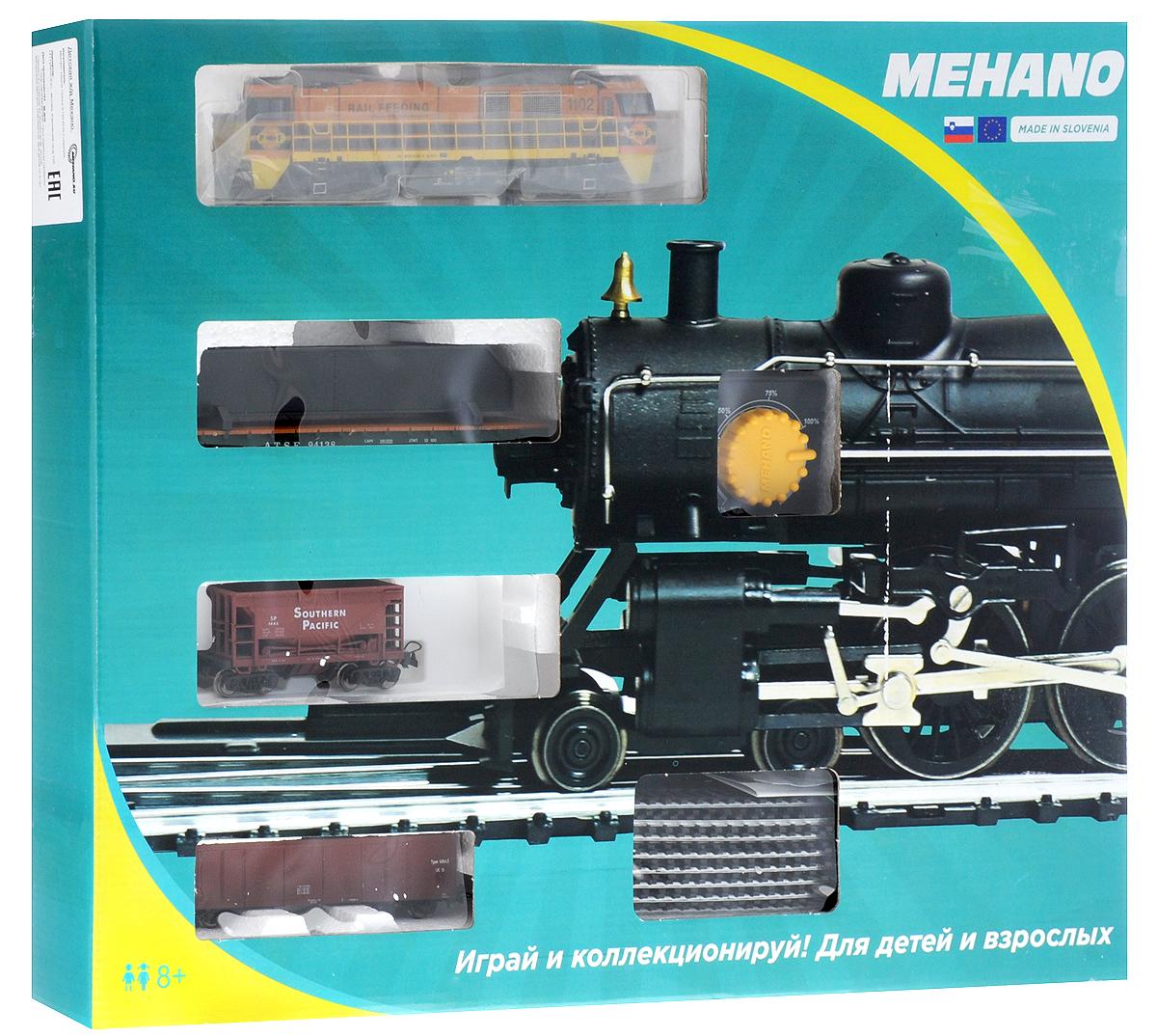 Mehano Железная дорога Prestige с тепловозом Rail FeedingPR02-275Железная дорога Mehano - миниатюрная копия грузового состава. Мельчайшие детали паровозов, тепловозов и грузовых вагонов, каждая рельефная линия экстерьера тщательно проработаны, благодаря чему состав выглядит более чем реально. Можно вообразить, как этот состав загрузили где-то на миниатюрном перевалочном пункте, а затем он аккуратно вез свой груз по длинным разветвленным путям… Воплотить воображаемое в действительность очень легко: при желании железнодорожное полотно можно увеличить и добавить элементы ландшафта, ведь все элементы железных дорог Mehano совместимы друг с другом. При желании, можно докупить стрелку, перекресток и состав может двигаться на другие участки железной дороги. Рельсы металлические, колеса паровозов и вагонов выполнены из металла. Все элементы комплекта совместимы с другими сборными моделями железной дороги Mehano, так что юный машинист сможет прокладывать различные маршруты, строить новые станции и придумывать неповторимый, свой собственный...