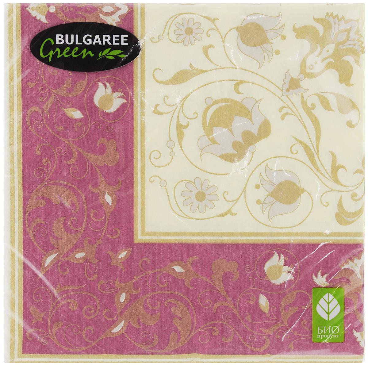 Салфетки бумажные Bulgaree Green Белиссимо, трехслойные, 33 х 33 см, 20 шт1002399Трехслойные салфетки Bulgaree Green Белиссимо выполнены из 100% целлюлозы и оформлены красивым рисунком. Изделия станут отличным дополнением любого праздничного стола. Они отличаются необычной мягкостью, прочностью и оригинальностью. Размер салфеток в развернутом виде: 33 х 33 см.