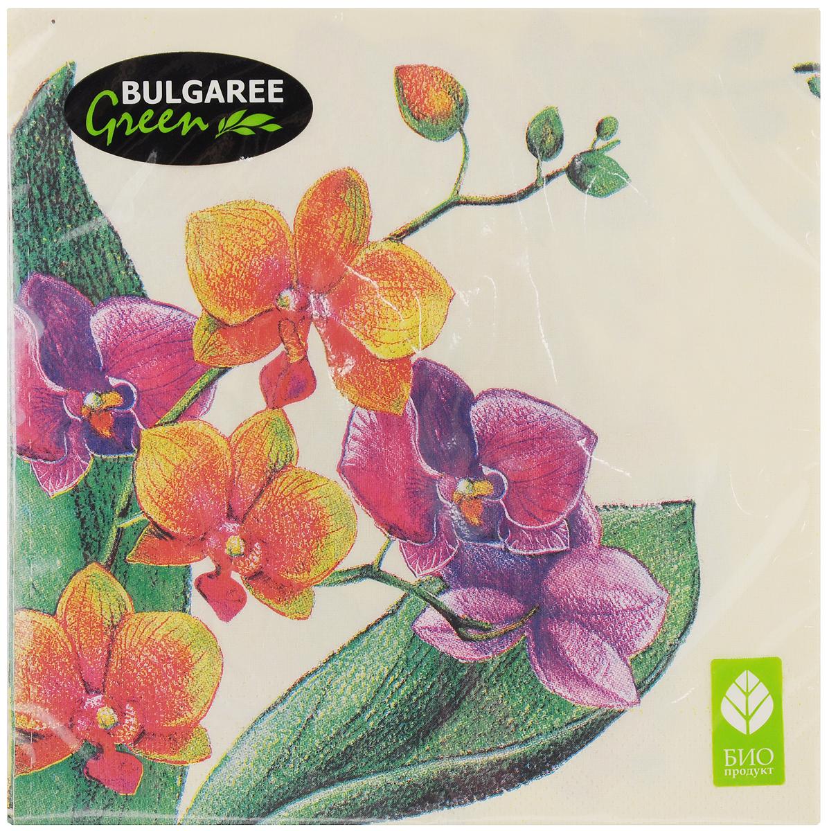Салфетки бумажные Bulgaree Green Орхидея, трехслойные, 33 х 33 см, 20 шт1002313Трехслойные салфетки Bulgaree Green Орхидея выполнены из 100% целлюлозы и оформлены красивым рисунком. Изделия станут отличным дополнением любого праздничного стола. Они отличаются необычной мягкостью, прочностью и оригинальностью. Размер салфеток в развернутом виде: 33 х 33 см.