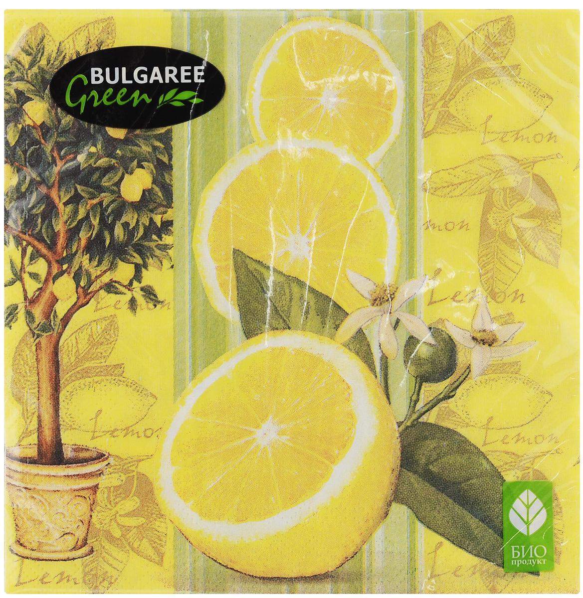 Салфетки бумажные Bulgaree Green Лимон, трехслойные, 33 х 33 см, 20 шт1002016Трехслойные салфетки Bulgaree Green Лимон выполнены из 100% целлюлозы и оформлены красивым рисунком. Изделия станут отличным дополнением любого праздничного стола. Они отличаются необычной мягкостью, прочностью и оригинальностью. Размер салфеток в развернутом виде: 33 х 33 см.