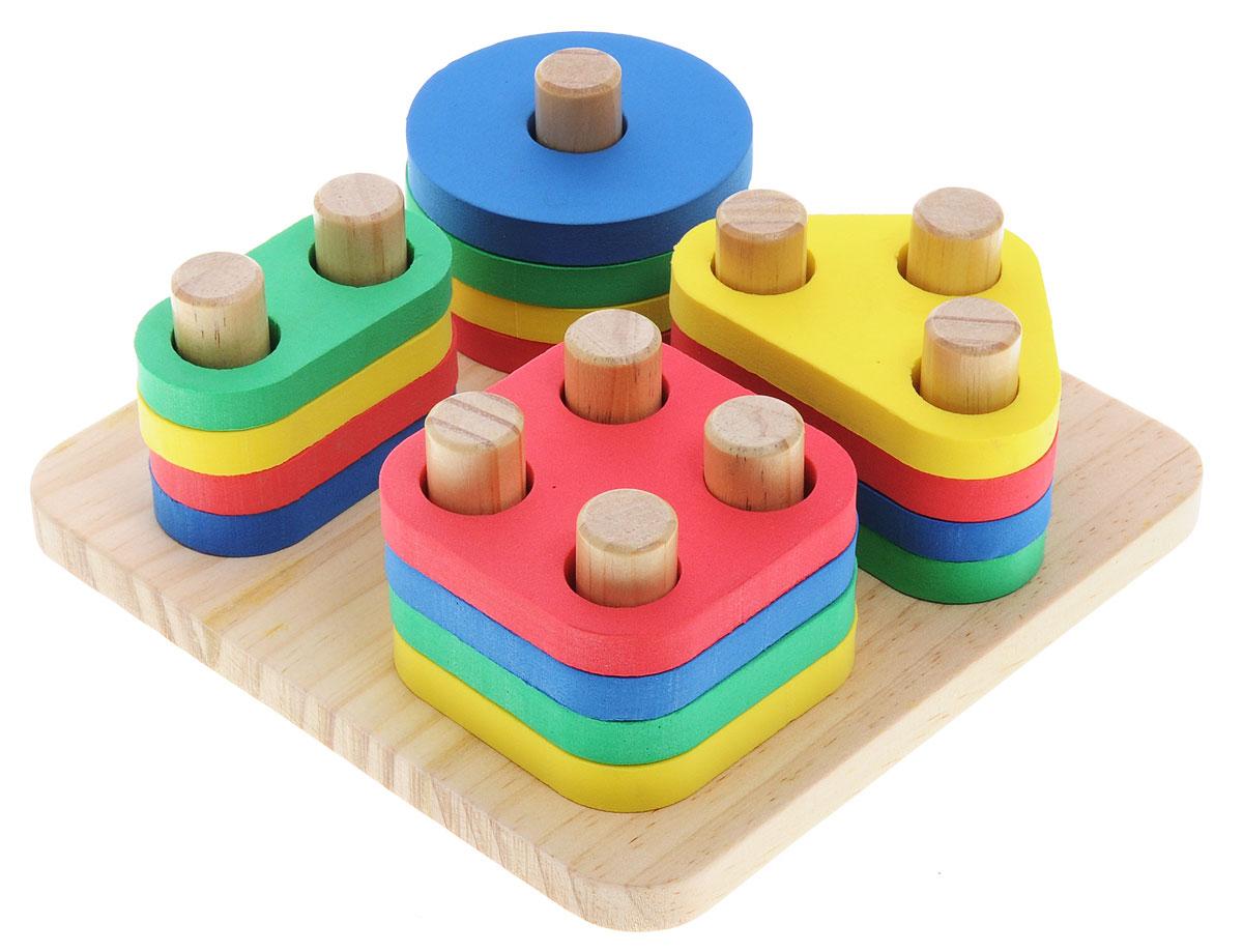 Lucy&Leo Сортер Логический квадратLL110Сортер Lucy&Leo Логический квадрат станет отличным подарком для вашего ребенка! Колышки специальной формы позволяют собирать в столбик фигурки одной формы. Фигурки выполнены из специального материала EVA, который приятен на ощупь, эластичен и не вызывает аллергии. Основа изготовлена из дерева. Такая конструкция поможет малышу легко и безопасно познакомиться с разными формами, цветами, улучшит координацию и логическое мышление.