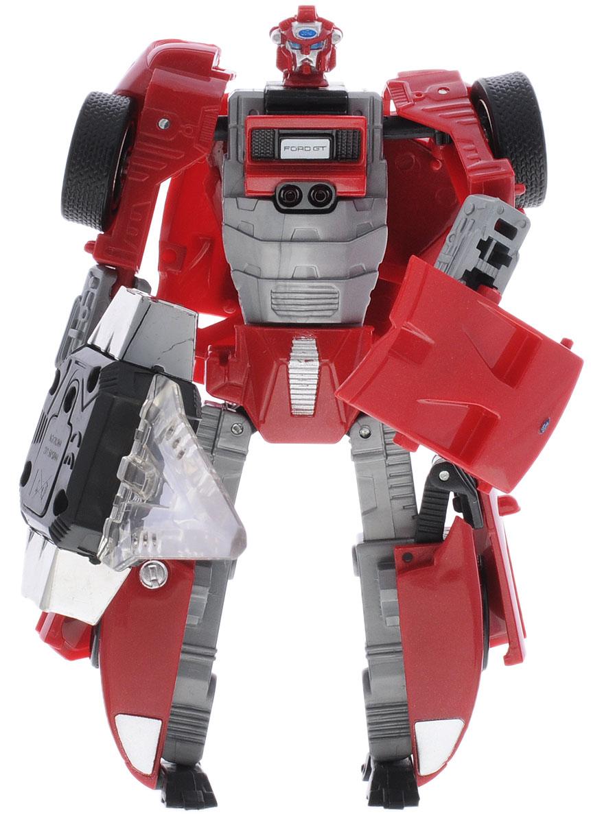 Shantou Трансформер Road Bot Ford GTG008-H21134 (24)Трансформер Shantou Road Bot Ford GT может трансформироваться в автомобиль Ford GT в масштабе 1:32. Как робот, так и машинка максимально функциональны. У автомобиля, открываются двери, багажник и капот. Оружие робота светится, что сделает все игровые бои в темноте невероятно зрелищными и атмосферными. Игрушка работает от незаменяемых батареек.