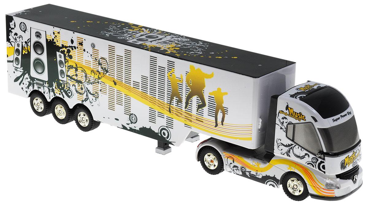 1TOY Грузовик-тягач на радиоуправлении Music Grand CeremonyТ55115_белый, желтый, MusicГрузовик-тягач на радиоуправлении 1TOY Music Grand Ceremony - очень интересная игрушка, изображающая реальную технику. При включении грузовика раздается звук заводящегося двигателя, движение и парковка также сопровождаются соответствующими звуками. Кузов прикрепляется к кабине на магнитных присосках, которые отсоединяются и присоединяются при помощи пульта управления. При движении грузовика загорается подсветка платформы. Машина двигается вперед и назад, поворачивает направо, налево. Радиоуправляемые игрушки способствуют развитию координации движений, моторики и ловкости. Машина работает от 4 батареек типа АА (не входят в комплект), пульт работает от батарейки 9V типа Крона (входит в комплект).