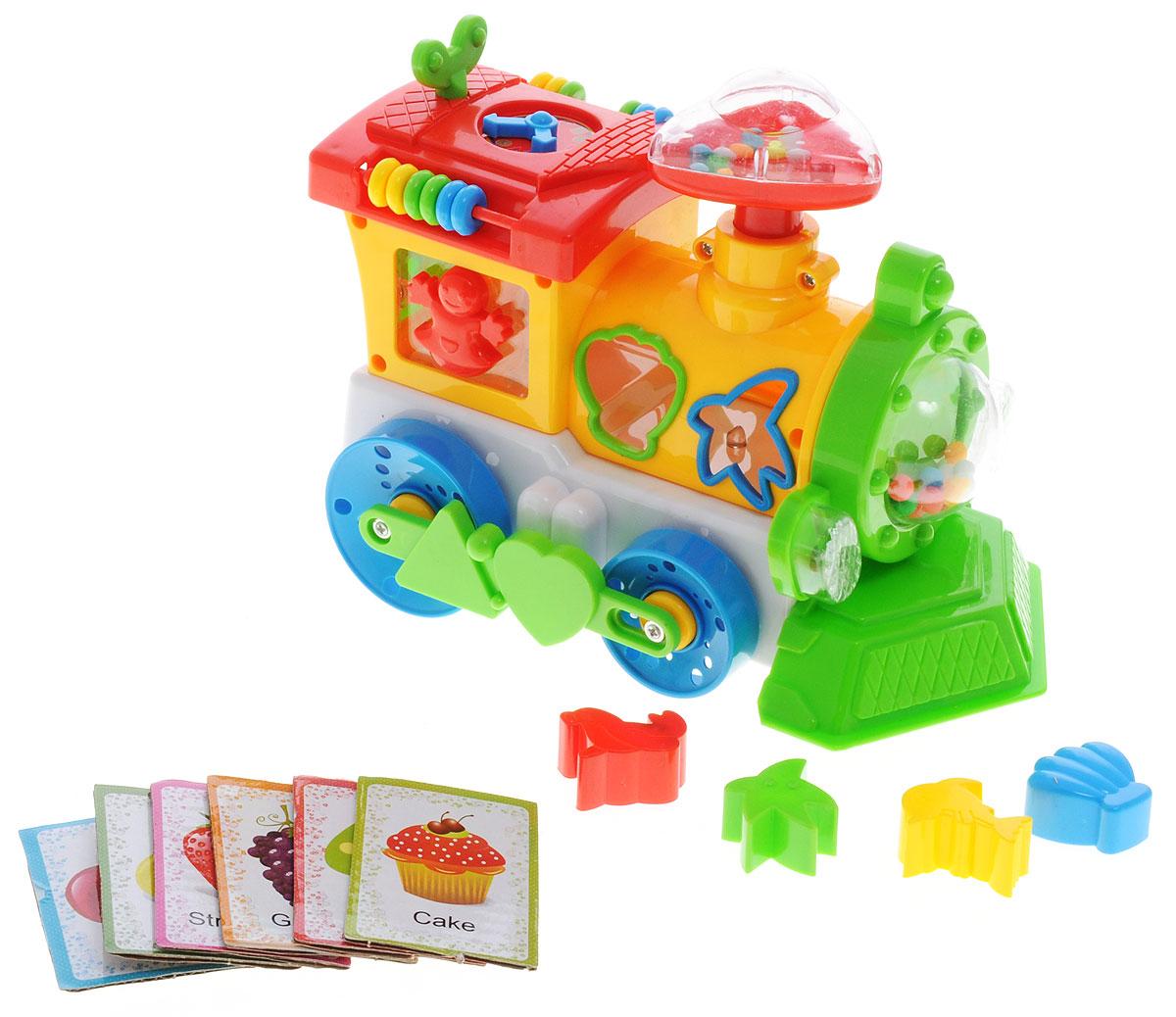 Plastic Toy Развивающая игрушка Музыкальный паровозик цвет желтыйB1002796R_желтыйНа этапе развития для малышей крайне важны игрушки, нацеленные на изучение интонации, формы и цвета. Также будет хорошо, если игры будут сопровождаться музыкальными звуками. Для этого очень хорошо подойдет такая развивающая игрушка, как музыкальный паровозик Plastic Toy. Эта игрушка предназначена для малышей с трехлетнего возраста и непременно вызовет огромный интерес у каждого малыша. Музыкальный паровозик - это очень яркая и привлекательная игрушка, которая позволяет малышу развивать мелкую моторику, звуковое и тактильное восприятие, она также будет побуждать малыша к активным действиям. С этой игрушкой малыш начинает познавать окружающий мир. Паровозик имеет световые и звуковые эффекты. В комплект входят обучающие карточки для изучения английского языка. Необходимо купить 3 батарейки типа АА (не входят в комплект).