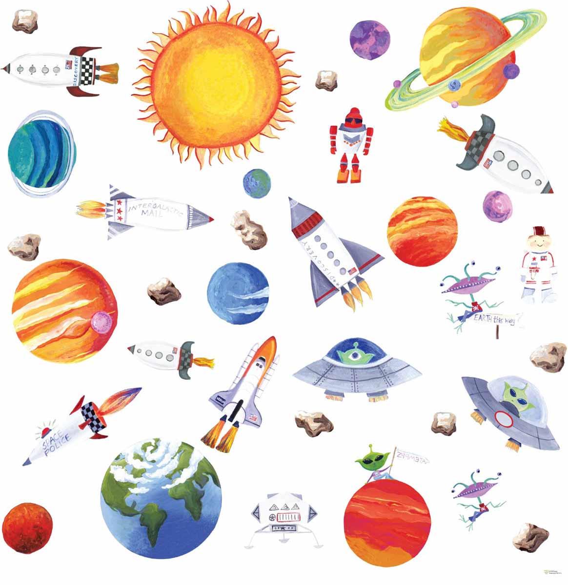 RoomMates Наклейки для декора КосмосRMK1316SCSНаклейки для декора Космос от знаменитого производителя RoomMates станут украшением вашей квартиры! Превратите комнату вашего ребенка в полигон отважных исследователей космоса с помощью нового набора наклеек для декора! Наклейки, входящие в набор, содержат изображения всех планет Солнечной системы, самого солнца, а также космических ракет и даже корабля пришельцев! Наклейки не нужно вырезать - их следует просто отсоединить от защитного слоя и поместить на стену или любую другую плоскую гладкую поверхность. Наклейки многоразовые: их легко переклеивать и снимать со стены, они не оставляют липких следов на поверхности. В каждой индивидуальной упаковке вы можете найти 4 листа с различными наклейками! Таким образом, покупая наклейки фирмы RoomMates, вы получаете гораздо больший ассортимент наклеек, имея возможность украсить ими различные поверхности в доме.