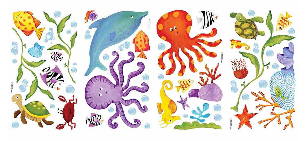 RoomMates Наклейки для декора Приключения под водойRMK1851SCSНаклейки для декора Приключения под водой от знаменитого производителя RoomMates станут украшением вашей квартиры! Отправьтесь на поиски приключений со своими новыми друзьями! Наклейки, входящие в набор, содержат изображения дельфинов, рыбок, черепашек и других дружелюбных морских животных. Набор прекрасно подойдет для спальни, ванной, игровой комнаты благодаря своей красочности. Наклейки не нужно вырезать - их следует просто отсоединить от защитного слоя и поместить на стену или любую другую плоскую гладкую поверхность. Наклейки многоразовые: их легко переклеивать и снимать со стены, они не оставляют липких следов на поверхности. В каждой индивидуальной упаковке вы можете найти 4 листа с различными наклейками! Таким образом, покупая наклейки фирмы RoomMates, вы получаете гораздо больший ассортимент наклеек, имея возможность украсить ими различные поверхности в доме.
