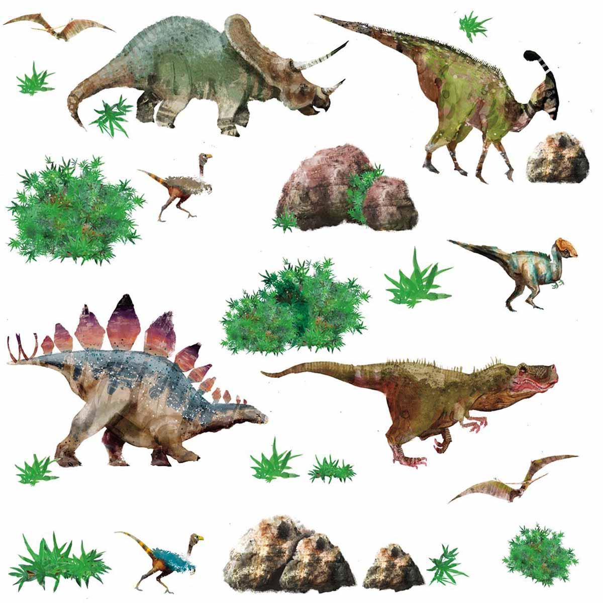 RoomMates Наклейки для декора ДинозаврыRMK1882SCSНаклейки для декора Динозавры от знаменитого производителя RoomMates станут украшением вашей квартиры! Новый увлекательный набор наклеек для декора приведет в восторг маленьких любителей палеонтологии! Наклейки, входящие в набор, содержат изображения различных динозавров, а также растений, окружающих их. Всего в наборе 25 стикеров. Наклейки не нужно вырезать - их следует просто отсоединить от защитного слоя и поместить на стену или любую другую плоскую гладкую поверхность. Наклейки многоразовые: их легко переклеивать и снимать со стены, они не оставляют липких следов на поверхности. В каждой индивидуальной упаковке вы можете найти 4 листа с различными наклейками! Таким образом, покупая наклейки фирмы RoomMates, вы получаете гораздо больший ассортимент наклеек, имея возможность украсить ими различные поверхности в доме.
