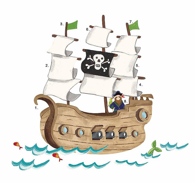 RoomMates Наклейка интерьерная Пиратский корабль 18 штRMK2042SLMИнтерьерная наклейка RoomMates Пиратский корабль обязательно станет украшением вашей квартиры. Придайте яркий и оригинальный вид комнате вашего ребенка с новым набором наклеек большого формата для декора! Наклейки, входящие в набор, содержат изображение плывущего по волнам пиратского корабля, с капитаном корабля, стоящим на борту, и его попугаем. Всего в наборе 18 стикеров. Наклейки не нужно вырезать - их следует просто отсоединить от защитного слоя и поместить на стену или любую другую плоскую гладкую поверхность. Наклейки многоразовые: их легко переклеивать и снимать со стены, они не оставляют липких следов на поверхности.