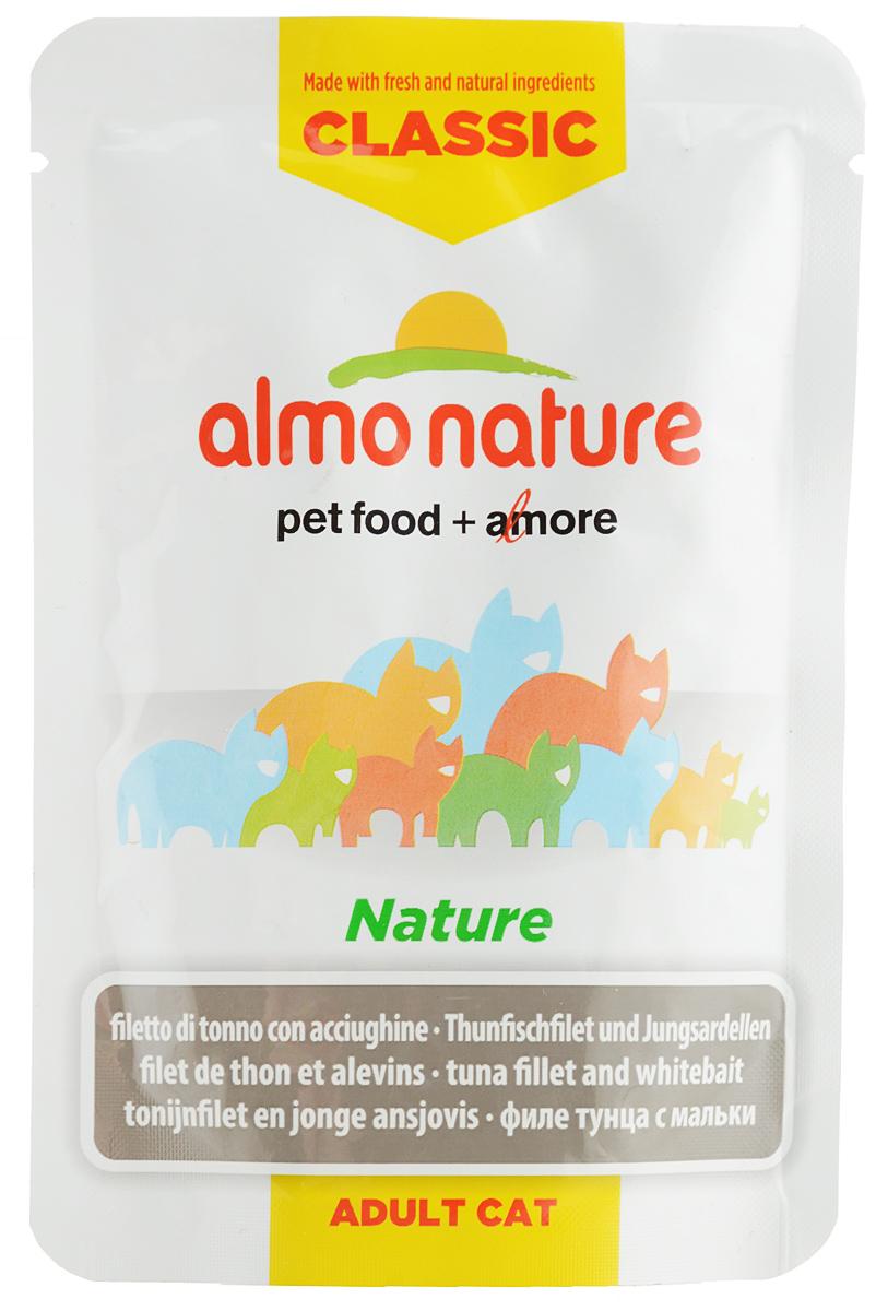 Консервы для кошек Almo Nature Classic. Nature, филе тунца с мальками, 55 г20482_newКонсервы Almo Nature Classic. Nature - это прекрасный сбалансированный корм для кошек. Угощение бережно приготовлено из самых свежих ингредиентов. Корм обогащен витаминами и минералами для здоровья, а также для хорошего самочувствия. Ваш питомец будет в полном восторге! Не содержит сои, консервантов, ароматизаторов, искусственных красителей, усилителей вкуса. Состав: филе тунца 50%, бульон из тунца 44%, мальки 5%, рис 1%. Пищевая ценность: белок 11%, клетчатка 0,1%, масла и жиры 0,4%, зола 2%, влажность 86,5%. Энергетическая ценность: 419 ккал/кг. Товар сертифицирован.