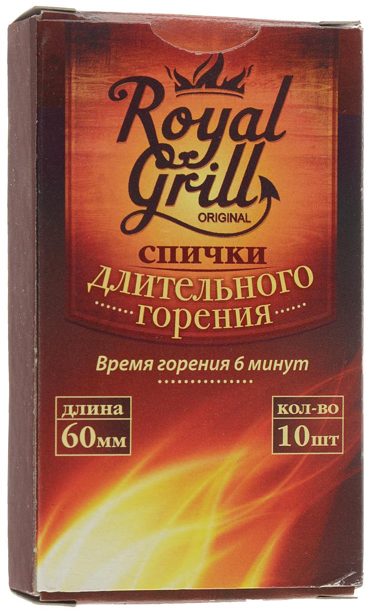 Спички RoyalGrill длительного горения, 10 шт80-137Спички RoyalGrill длительного горения предназначены для разведения огня. Они всегда выручат в плохую погоду на открытом воздухе. Отлично загораются, плохо тушатся - что защищает от сильного ветра, неожиданного дождя и любой непогоды. Их удобно держать в руке с минимальным риском ожогов. Состав: ДВП, смесь парафинов, зажигательный состав.