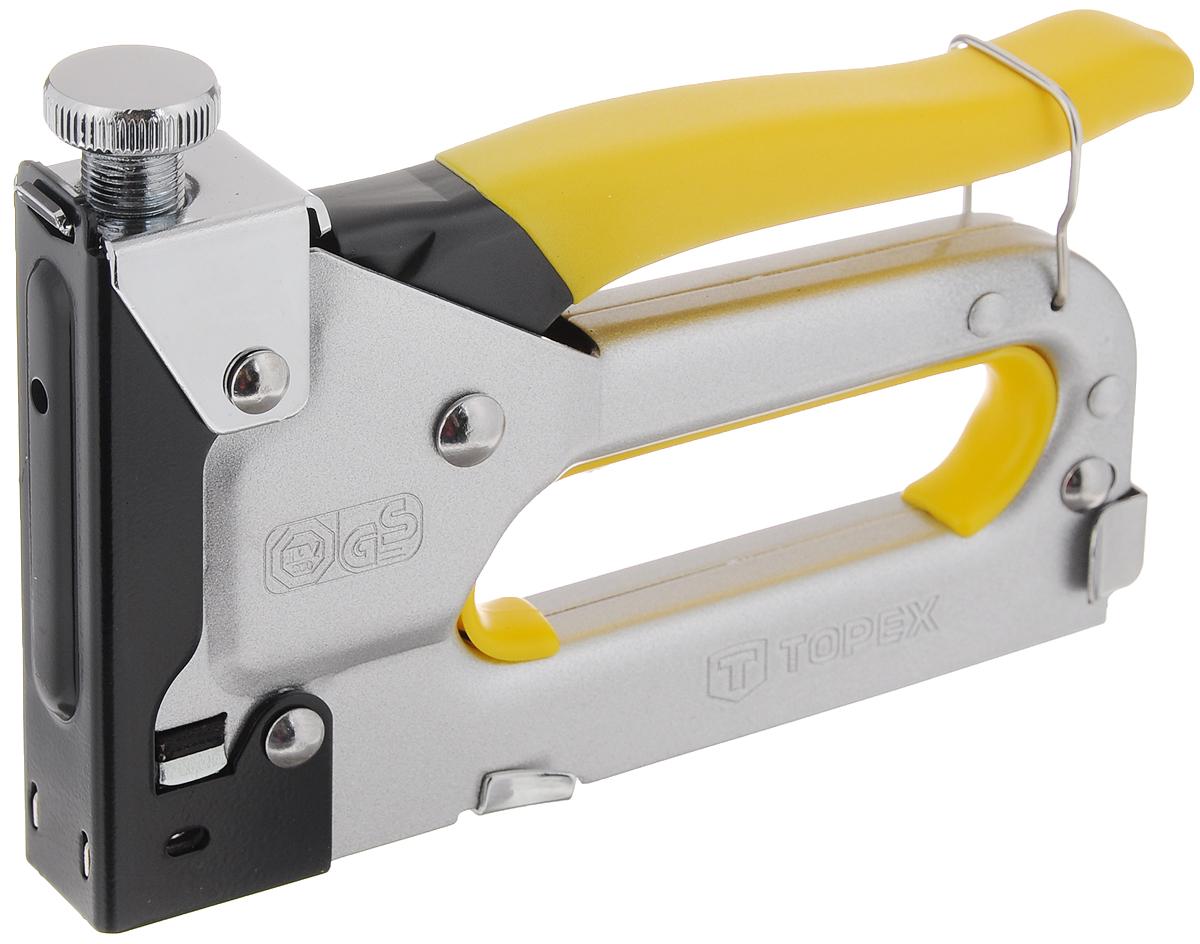 Степлер обивочный Topex, со скобами, цвет: стальной, желтый, черный, 6-14 мм41E906_стальной, желтый, черныйЛегкий и удобный степлер Торех, изготовленный из металла, используется в строительных и хозяйственных работах, а также дизайне. Он может скреплять между собой различные поверхности за счет скоб (входят в комплект). Подходят скобы размером: от 0,6 см до 1,4 см.