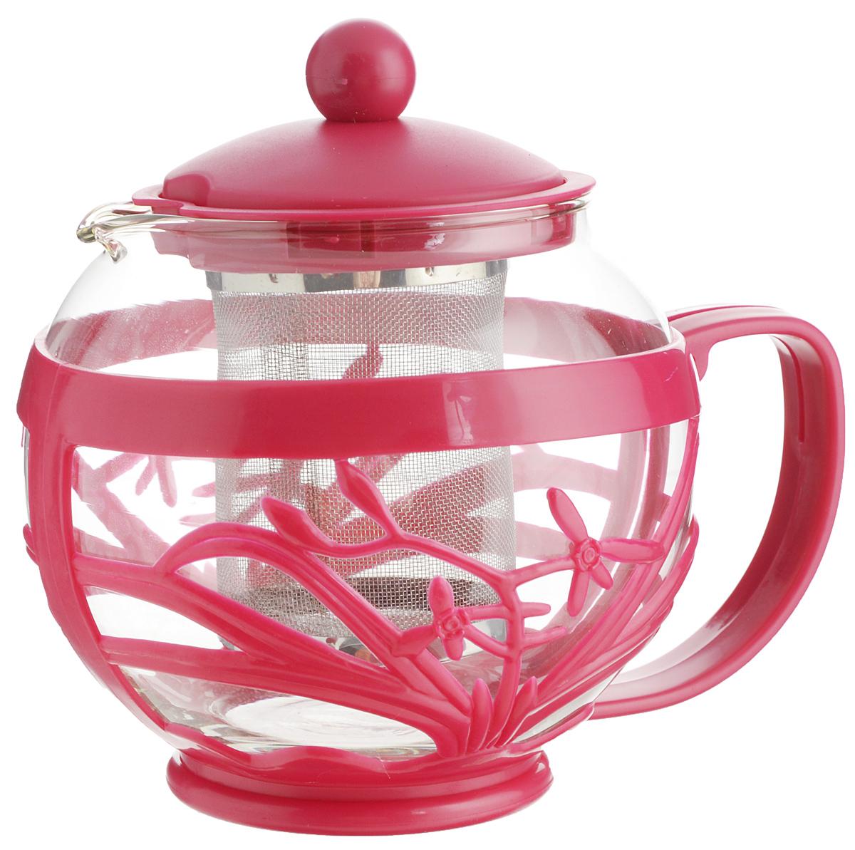 Чайник заварочный Menu Мелисса, с фильтром, цвет: прозрачный, малиновый, 750 млMLS-75_малиновыйЧайник Menu Мелисса изготовлен из прочного стекла и пластика. Он прекрасно подойдет для заваривания чая и травяных напитков. Классический стиль и оптимальный объем делают его удобным и оригинальным аксессуаром. Изделие имеет удлиненный металлический фильтр, который обеспечивает высокое качество фильтрации напитка и позволяет заварить чай даже при небольшом уровне воды. Ручка чайника не нагревается и обеспечивает безопасность использования. Нельзя мыть в посудомоечной машине. Диаметр чайника (по верхнему краю): 8 см. Высота чайника (без учета крышки): 11 см. Размер фильтра: 6 х 6 х 7,2 см.