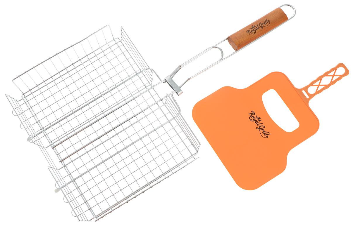 Решетка-гриль RoyalGrill, глубокая, с веером, 31 х 24 см80-031Глубокая решетка-гриль RoyalGrill изготовлена из высококачественной стали. На решетке удобно размещать стейки, ребрышки, гамбургеры, сосиски, рыбу, овощи. Решетка предназначена для приготовления пищи на углях. Блюда получаются сочными, ароматными, с аппетитной специфической корочкой. Рукоятка изделия оснащена деревянной вставкой и фиксирующей скобой, которая зажимает створки решетки. В комплекте имеется веер, выполненный из пластика, который предназначен для разжигания мангала. Размер рабочей поверхности решетки (без учета усиков): 31 х 24 см. Общая длина решетки (с ручкой): 58 см.