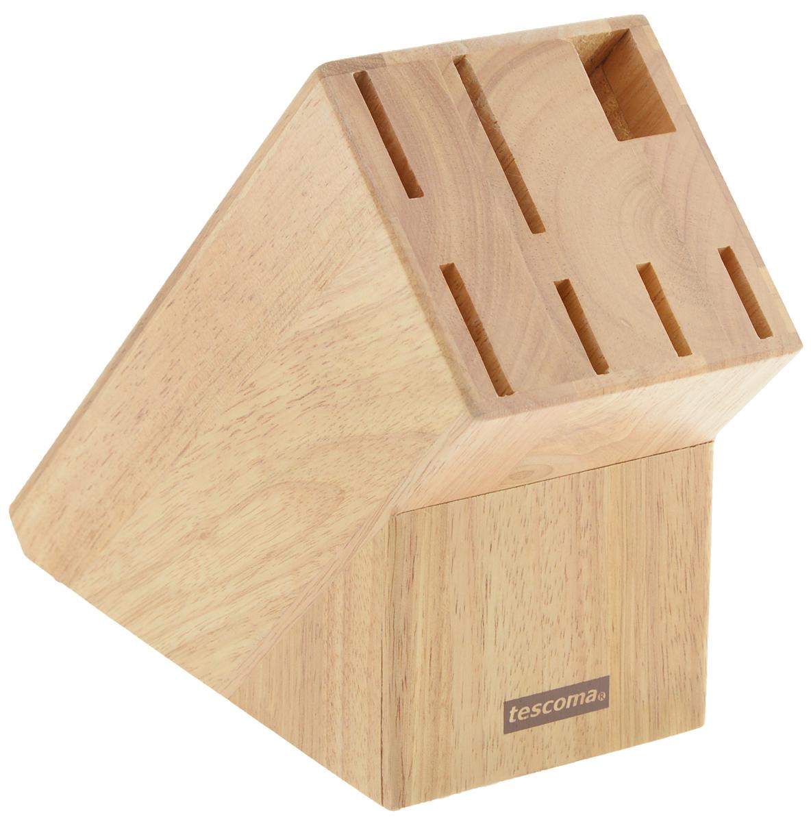 Блок для ножей Tescoma Woody. 869506869506Блок Tescoma Woody, изготовленный из специальной благородной древесины - каучука бразильского, обеспечивает безопасное хранение ножей. Блок имеет 6 отверстий для ножей и 1 отверстие для ножниц или точилки. Изделие оснащено противоскользящими резиновыми накладками. Нельзя мыть в посудомоечной машине.