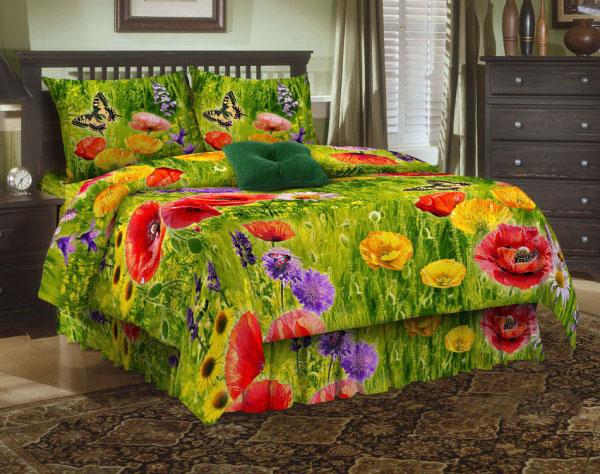 Комплект белья ЭГО Маки, 1,5-спальный, наволочки 70х70, цвет: зеленый. Э-2002-01Э-2002-01