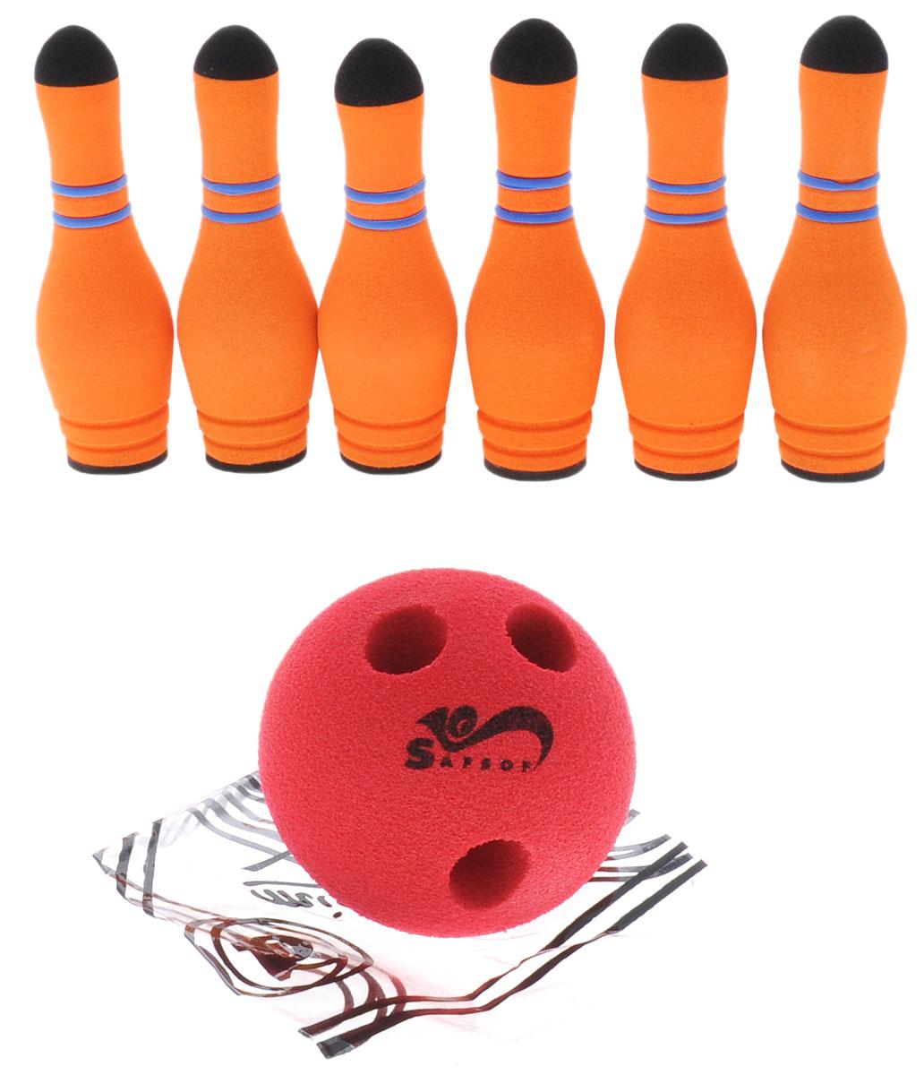 Safsof Игровой набор Мини-боулинг цвет оранжевый красныйMBB-05(B)_оранжевый,красныйИгровой набор Safsof Мини-боулинг, изготовленный из вспененной резины, состоит из шести кеглей, шара и рамки. Набор выполнен из мягкого материала, что обеспечивает безопасность ребенку. Суть игры в боулинг - сбить шаром максимальное количество кеглей. Число игроков и количество туров - произвольное. Очки, набранные с каждым броском мяча, рассматриваются как количество сбитых кегель. Расстояние, с которого совершается бросок, определяется игроками. Каждый игрок имеет право на два броска в одной рамке (рамка - треугольник, на поле которого выстраиваются кегли перед каждым первым броском очередного игрока). Бросок, при котором все кегли сбиты, называется страйк и обозначается, как Х. Если все кегли сбиты первым броском, второй бросок не требуется: рамка считается закрытой. Призовые очки за страйк - это сумма кеглей, сбитых игроком следующими двумя бросками. Выигрывает тот игрок, кто в сумме набирает больше очков.