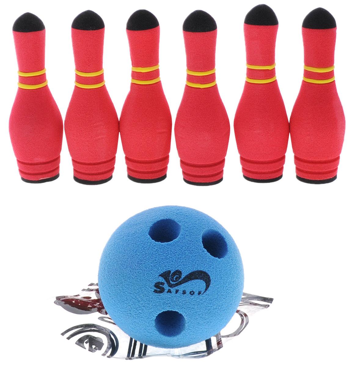 Safsof Игровой набор Мини-боулинг цвет малиновый синийMBB-05(B)_малиновый,синийИгровой набор Safsof Мини-боулинг, изготовленный из вспененной резины, состоит из шести кеглей, шара и рамки. Набор выполнен из мягкого материала, что обеспечивает безопасность ребенку. Суть игры в боулинг - сбить шаром максимальное количество кеглей. Число игроков и количество туров - произвольное. Очки, набранные с каждым броском мяча, рассматриваются как количество сбитых кегель. Расстояние, с которого совершается бросок, определяется игроками. Каждый игрок имеет право на два броска в одной рамке (рамка - треугольник, на поле которого выстраиваются кегли перед каждым первым броском очередного игрока). Бросок, при котором все кегли сбиты, называется страйк и обозначается, как Х. Если все кегли сбиты первым броском, второй бросок не требуется: рамка считается закрытой. Призовые очки за страйк - это сумма кеглей, сбитых игроком следующими двумя бросками. Выигрывает тот игрок, кто в сумме набирает больше очков.
