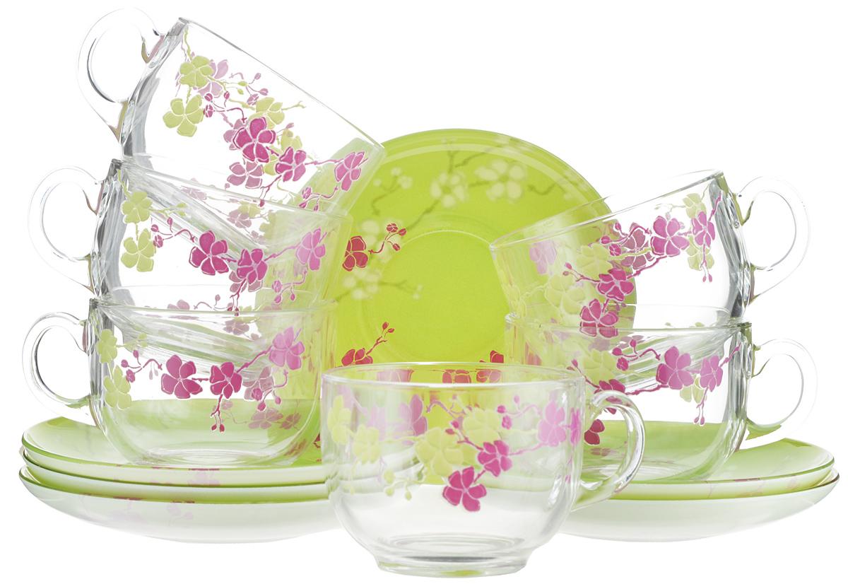 Набор чайный Luminarc Kashima Green, 12 предметовH0062Чайный набор Luminarc Kashima Green состоит из шести чашек и шести блюдец. Предметы набора изготовлены из высококачественного стекла и имеют стильный внешний вид. Чайный набор изысканного утонченного дизайна украсит интерьер кухни. Прекрасно подойдет как для торжественных случаев, так и для ежедневного использования. Объем чашки: 220 мл. Диаметр чашки (по верхнему краю): 8,3 см. Высота стенки чашки: 6,5 см. Диаметр блюдца: 14 см. Высота блюдца: 2 см.