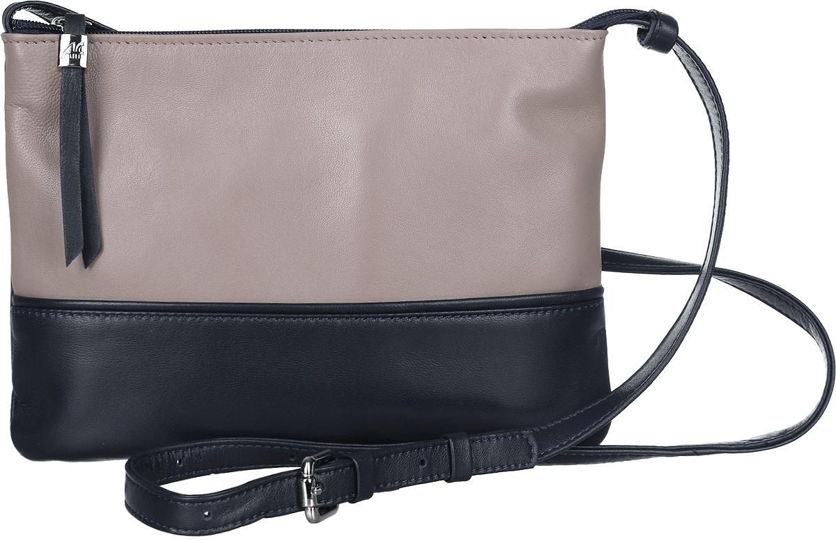 Сумка женская Afina, цвет: капучино, темно-синий. 205205Стильная женская сумка Afina выполнена из натуральной кожи. Изделие имеет одно основное отделение, закрывающееся на застежку-молнию. Внутри находятся два накладных открытых кармана и прорезной карман на застежке-молнии. Снаружи, на задней стенке расположен прорезной карман на застежке-молнии. Модель оснащена регулируемым плечевым ремнем. Роскошная сумка внесет элегантные нотки в ваш образ и подчеркнет ваше отменное чувство стиля.