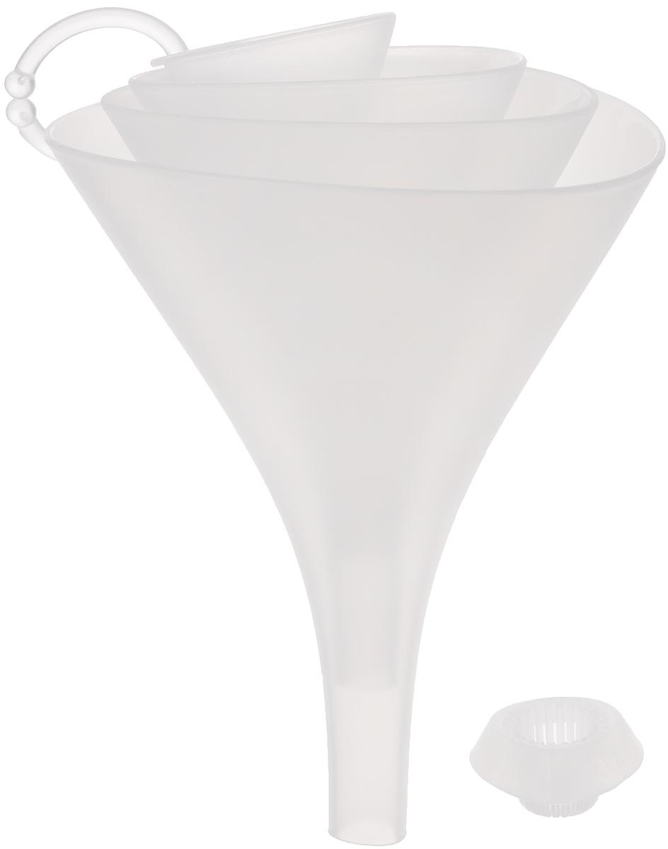 Набор воронок Tescoma Presto, с ситом, цвет: прозрачный, 4 шт420596Набор воронок Tescoma Presto состоит из 4 воронок, изготовленных из первоклассной стойкой пластмассы. Прекрасно подходят для заливки и процеживания жидкостей в малые и большие емкости, оснащены универсальным ситом, которое не забивается и подходит для всех четырех воронок. Благодаря треугольной форме воронки не катаются по столу. Такие воронки станут прекрасным дополнением к коллекции ваших кухонных аксессуаров. Можно мыть в посудомоечной машине. Диаметр воронок: 13 см; 11 см; 9 см; 5 см. Высота воронок: 17 см; 14 см; 11 см; 7 см. Размер сита: 4 х 4 х 2 см.