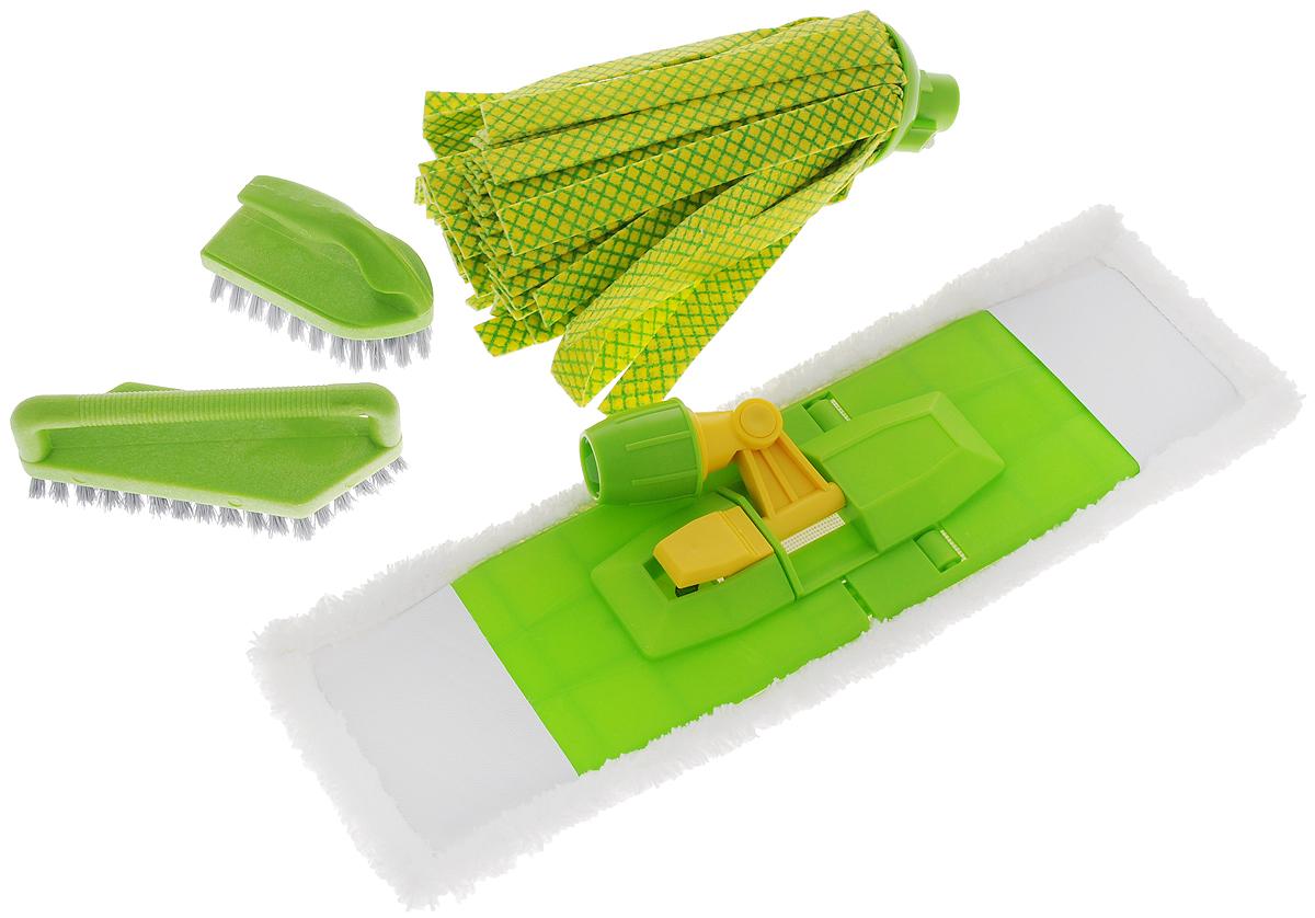 Комплект для уборки Вот!, 5 предметовPOS12-ZWКомплект для уборки Вот! состоит из платформы, сменной насадки из микрофибры, ленточного мопа и двух щеток. Такой комплект сделает уборку легкой и обеспечит идеальную чистоту. Размер платформы: 41 х 10 см. Размер сменной насадки: 44 х 13 см. Длина мопа: 26 см. Размер большой щетки: 15 х 5 см. Размер маленькой щетки: 10 х 5 см. Длина ворса щеток: 2 см.