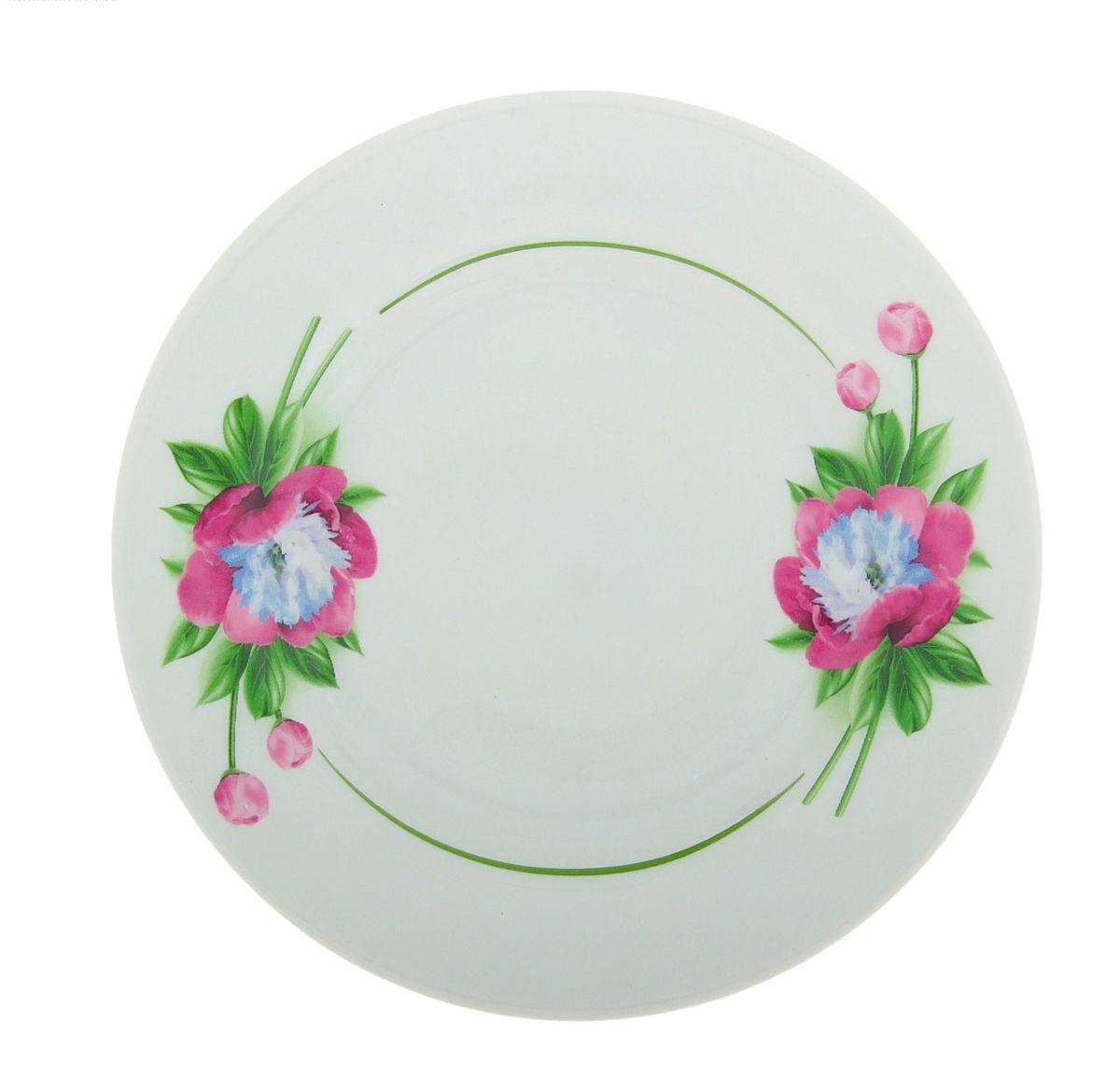 Тарелка мелкая Идиллия. Пион, диаметр 17 см. 507733507733