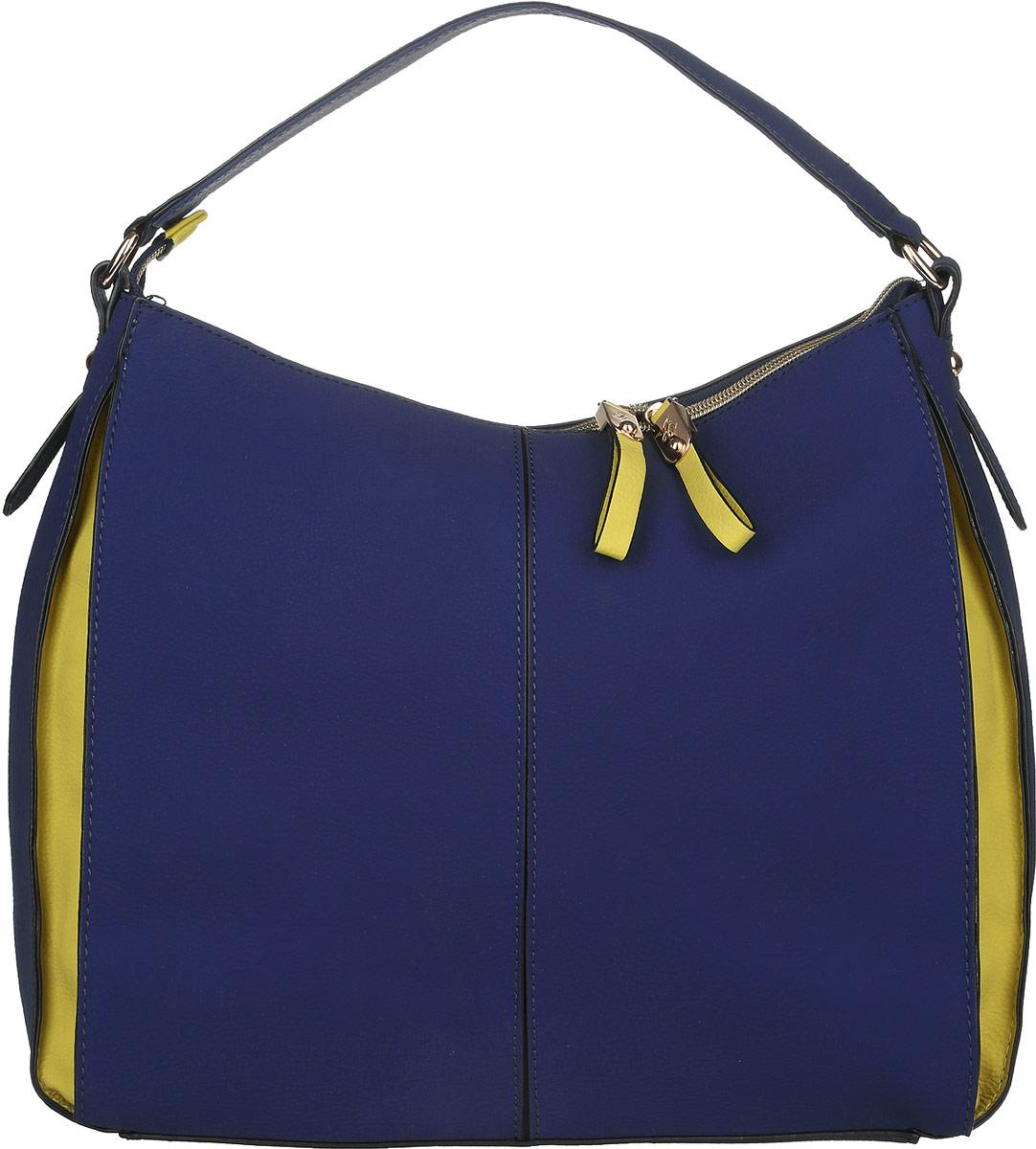 Сумка женская Jane Shilton, цвет: темно-синий, желтый. 20542054navyСтильная женская сумка Jane Shilton, выполненная из искусственной кожи, дополнена фирменным брелоком. Изделие имеет одно основное отделение, закрывающееся на застежку-молнию. Внутри находятся прорезной карман на застежке-молнии и накладной открытый карман. Снаружи, на задней стенке расположен прорезной карман на застежке-молнии. Модель оснащена одной удобной ручкой. Роскошная сумка внесет элегантные нотки в ваш образ и подчеркнет ваше отменное чувство стиля.