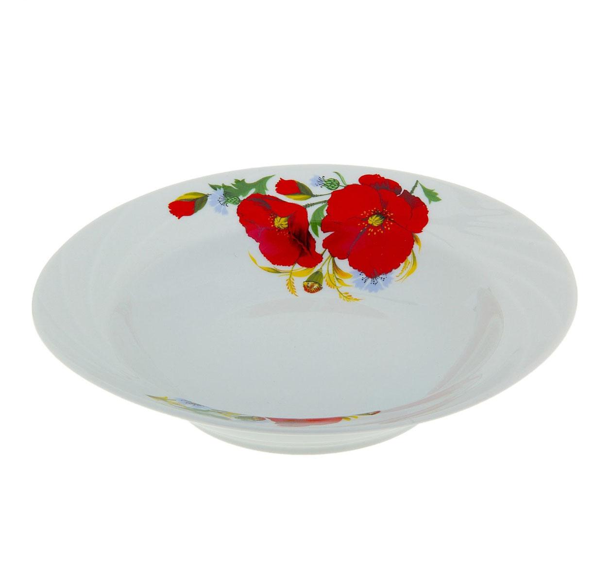 Тарелка глубокая Голубка. Маки красные, диаметр 20 см508021
