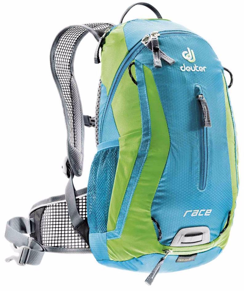 Рюкзак Deuter 2015 Bike Race, цвет: голубой, салатовый, 10 л32113_3214Спортивный и обтекаемый рюкзак для велогонщиков. Простой дизайн и малый вес - идеальный выбор для сторонников минимального веса. Рюкзак обладает небольшим весом и отличной функциональностью. -Анатомические плечевые лямки и набедренный пояс с сетчатыми подушками обеспечивают идеальную посадку рюкзака -Наружный карман -Верхний карман с удобным доступом -Внутренний карман для ценных вещей -Отражатель 3M -Петля для крепления ночного габаритного фонарика Safety Blink -Крепления для системы снабжения питьевой водой -Чехол от дождя вентилируемая спинка Deuter Airstripes анатомические плечевые лямки из сетки и нагрудный ремень с удобной регулировкой набедренный пояс с сетчатыми крыльями небольшой верхний карман на молнии передний карман отражатели 3M спереди, сзади и по бокам внутренний карман для мелких вещей петля для крепления ночного габаритного фонарика чехол от дождя сетчатые боковые карманы
