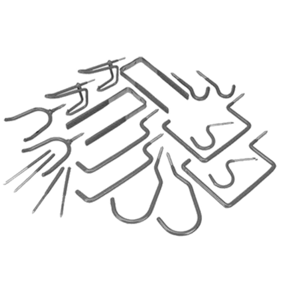 Набор крюков для хранения МастерПроф, 20 штТД.010004В наборе 20 крюков и подвесов. Цвет: серый. Материал: сталь.