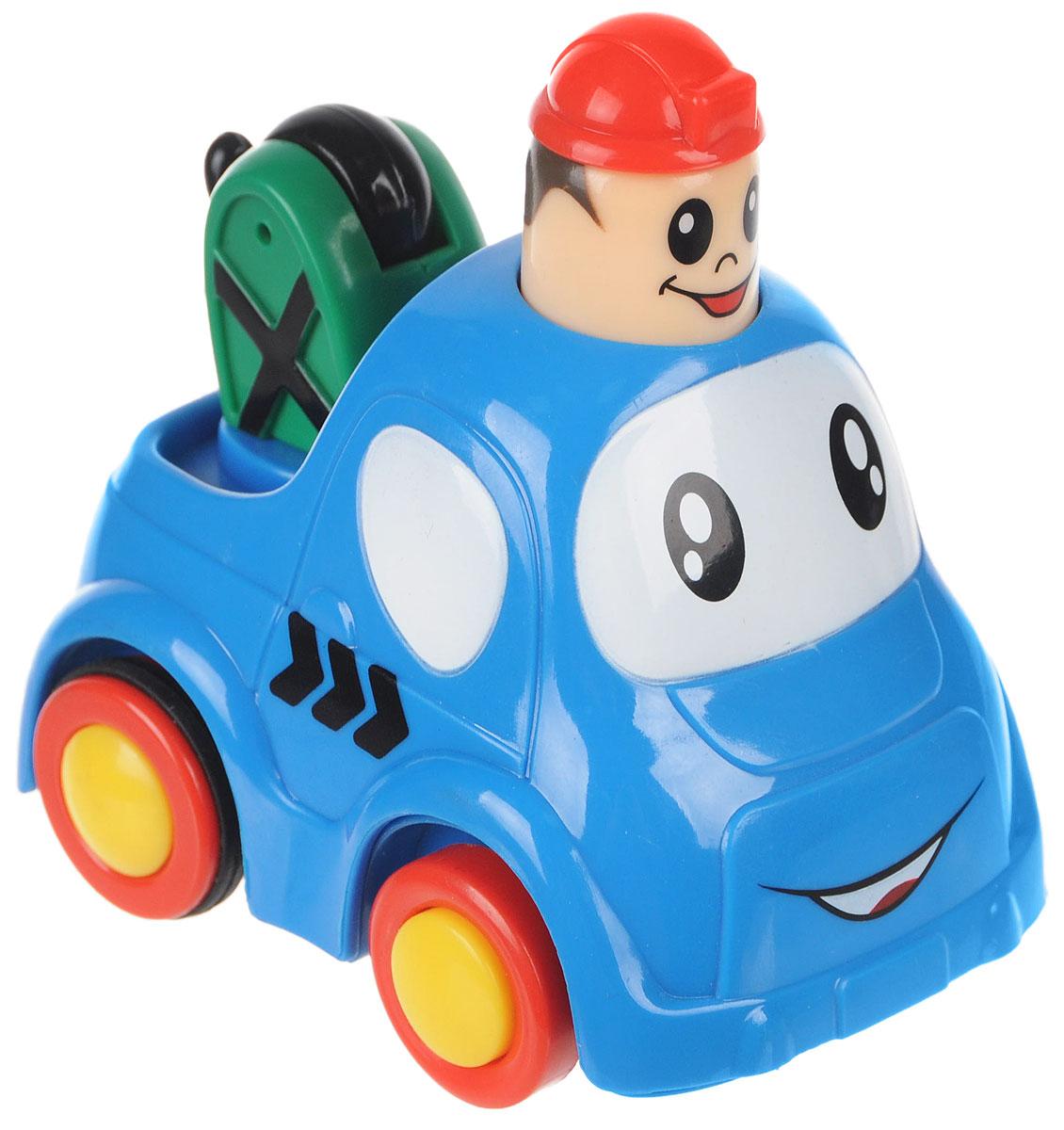 Simba Инерционная Мини-машинка с краном цвет синий4019516_синий,кранМини-машинка с краном Simba привлечет внимание вашего ребенка и надолго останется его любимой игрушкой. Плавные формы без острых углов, яркие цвета - все это выгодно выделяет эту игрушку из ряда подобных. Кузов дополнен подвижным краном. Игрушка оснащена инерционным ходом. Необходимо нажать на голову водителя и отпустить - и машинка быстро поедет вперед. Машинка развивает концентрацию внимания, координацию движений, мелкую моторику рук, цветовое восприятие и воображение. Малыш будет часами играть с этой машинкой, придумывая разные истории.