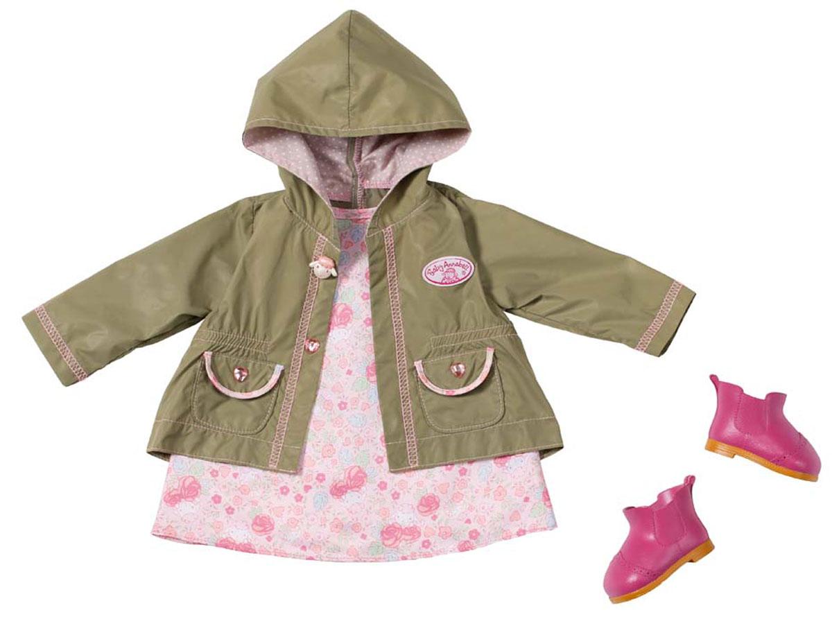 Baby Annabell Комплект демисезонной одежды для куклы794-616Комплект демисезонной одежды для куклы Baby Annabell - важный атрибут, который поможет ребенку комфортно и занимательно провести время. В набор входит розовое платьице с цветочным принтом, куртка-дождевик болотного цвета и розовые ботиночки. В таком наряде кукле не страшен даже сильный дождь. Выполнена одежда из прочных материалов, аккуратно прошита, а значит, долго прослужит. Набор для куклы Baby Annabell станет хорошим подарком для девочки, с ним игры станут еще более увлекательными. Комплект одежды подходит ко всем куклам серии Baby Annabell высотой 46 см.