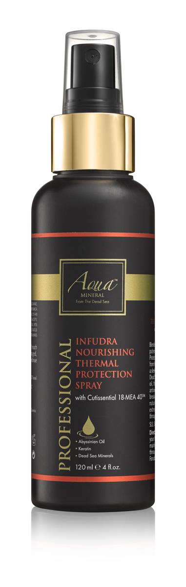 Aqua mineral Спрей термозащитный, восстанавливающий и питательный для волос 120 мл0987Обогащенный запатентованной формулой CUTISSENTIAL 18-MEA 40, термозащитный спрей противостоит воздействию излишне высоких температур, а также обеспечивает легкую фиксацию и глянцевое покрытие. Обогащенная витаминами, пептидами, минералами Мертвого моря, маслом крамбе (абиссинская горчица) и семян моркови, формула питает волосы, осуществляет антиоксидантную защиту от высоких температур, эффективно предотвращает ломкость и сечение кончиков. Результат - здоровые сияющие волосы, защищенные от высоких температур, и укладка, которая держится в течение всего дня.