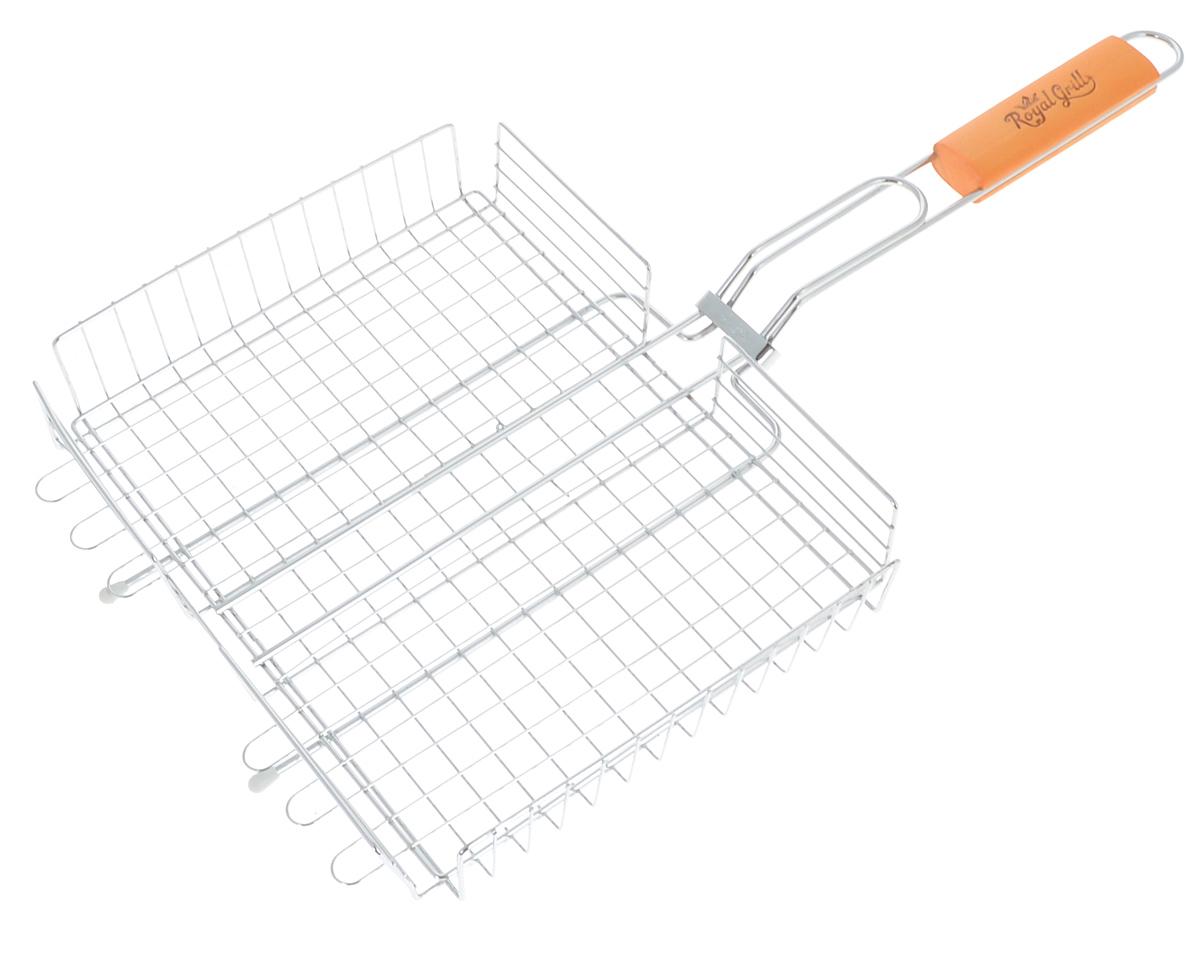 Решетка-гриль RoyalGrill, глубокая, 31 х 24 см80-022Глубокая решетка-гриль RoyalGrill изготовлена из высококачественной стали. На решетке удобно размещать стейки, ребрышки, гамбургеры, сосиски, рыбу, овощи. Решетка предназначена для приготовления пищи на углях. Блюда получаются сочными, ароматными, с аппетитной специфической корочкой. Рукоятка изделия оснащена деревянной вставкой и фиксирующей скобой, которая зажимает створки решетки. Размер рабочей поверхности решетки (без учета усиков): 31 х 24 см. Общая длина решетки (с ручкой): 58,5 см.