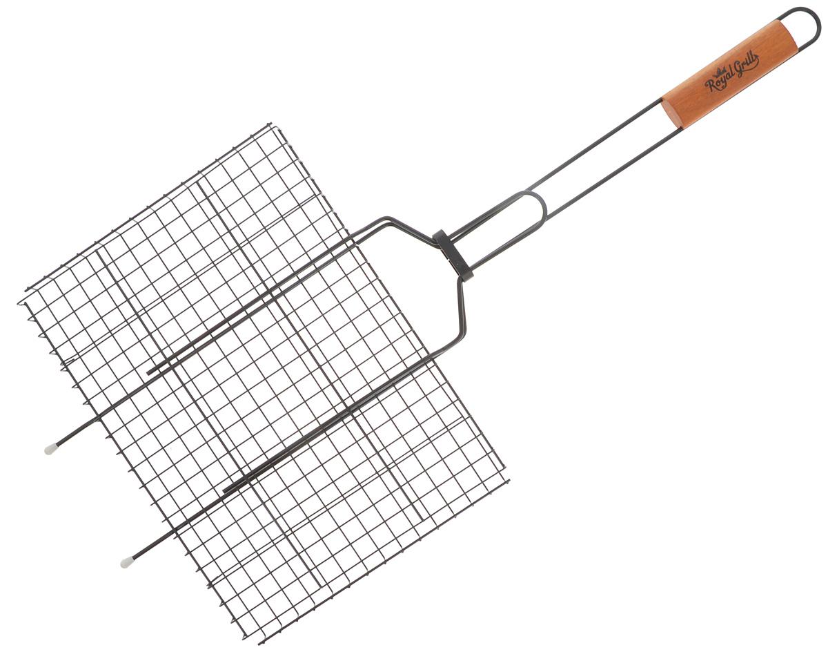 Решетка-гриль RoyalGrill, с антипригарным покрытием, универсальная 35 х 26 см80-026Решетка-гриль RoyalGrill изготовлена из высококачественной стали с антипригарным покрытием. На решетке удобно размещать стейки, ребрышки, гамбургеры, сосиски, рыбу, овощи. Решетка предназначена для приготовления пищи на углях. Блюда получаются сочными, ароматными, с аппетитной специфической корочкой. Рукоятка изделия оснащена деревянной вставкой и фиксирующей скобой, которая зажимает створки решетки. Размер рабочей поверхности решетки (без учета усиков): 35 х 26 см. Общая длина решетки (с ручкой): 75 см.