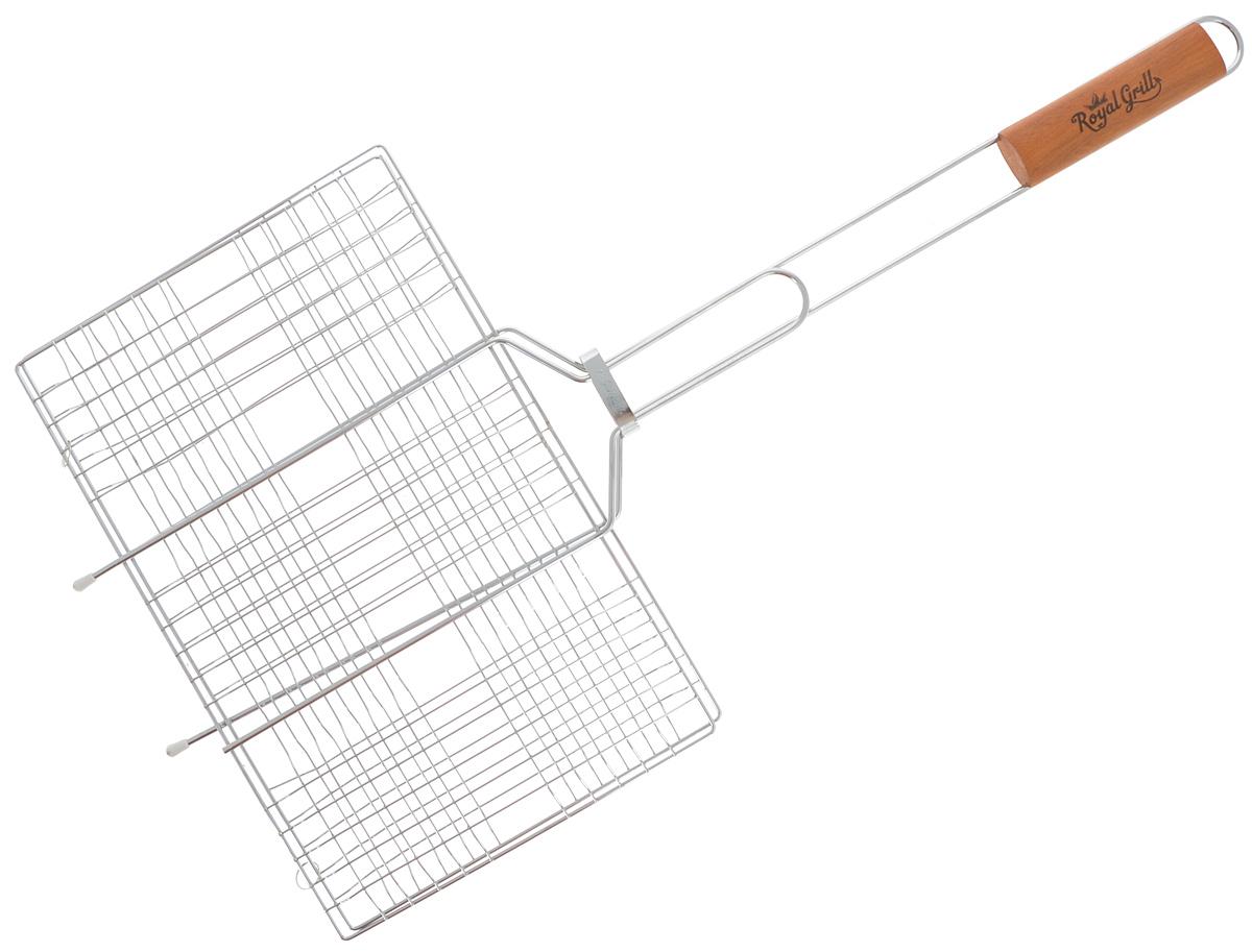 Решетка-гриль RoyalGrill, универсальная, 6 секций, 34 х 22 см80-021Решетка-гриль RoyalGrill изготовлена из высококачественной стали. На решетке удобно размещать стейки, ребрышки, гамбургеры, сосиски, рыбу, овощи. Решетка предназначена для приготовления пищи на углях. Блюда получаются сочными, ароматными, с аппетитной специфической корочкой. Рукоятка изделия оснащена деревянной вставкой и фиксирующей скобой, которая зажимает створки решетки. Размер рабочей поверхности решетки (без учета усиков): 34 х 22 см. Общая длина решетки (с ручкой): 67 см.