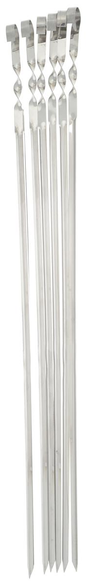 Набор угловых шампуров RoyalGrill, длина 62 см, 6 шт80-081Набор RoyalGrill состоит из 6 угловых шампуров, предназначенных для приготовления шашлыка. Изделия выполнены из высококачественной нержавеющей стали. Функциональный и качественный набор шампуров поможет вам в приготовлении вкусного шашлыка на открытом воздухе. Ширина: 1 см. Толщина: 1 мм.