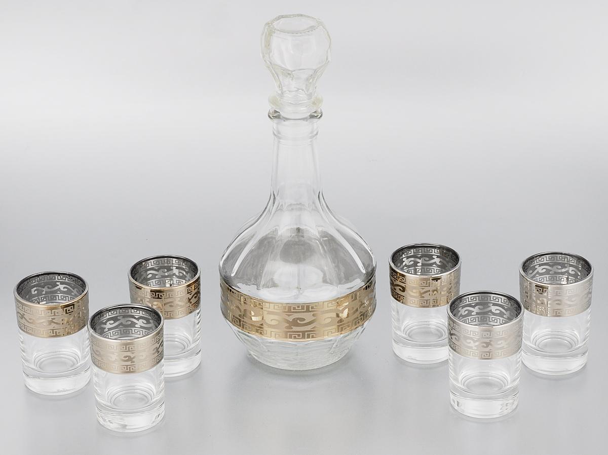 Набор стопок Гусь-Хрустальный Версаче, с графином, 7 предметовGE08-500/837Набор Гусь-Хрустальный Версаче состоит из шести стопок и графина, изготовленных из прочного натрий-кальций-силикатного стекла. Изделия, предназначенные для подачи водки и других спиртных напитков, несомненно придутся вам по душе. Рюмки и графин сочетают в себе элегантный дизайн и функциональность. Набор стопок Гусь-Хрустальный Версаче идеально подойдет для сервировки стола и станет отличным подарком к любому празднику. Диаметр стопки: 4,5 см. Высота стопки: 6,5 см. Объем стопки: 60 мл. Высота графина: 23,5 см. Объем графина: 500 мл.