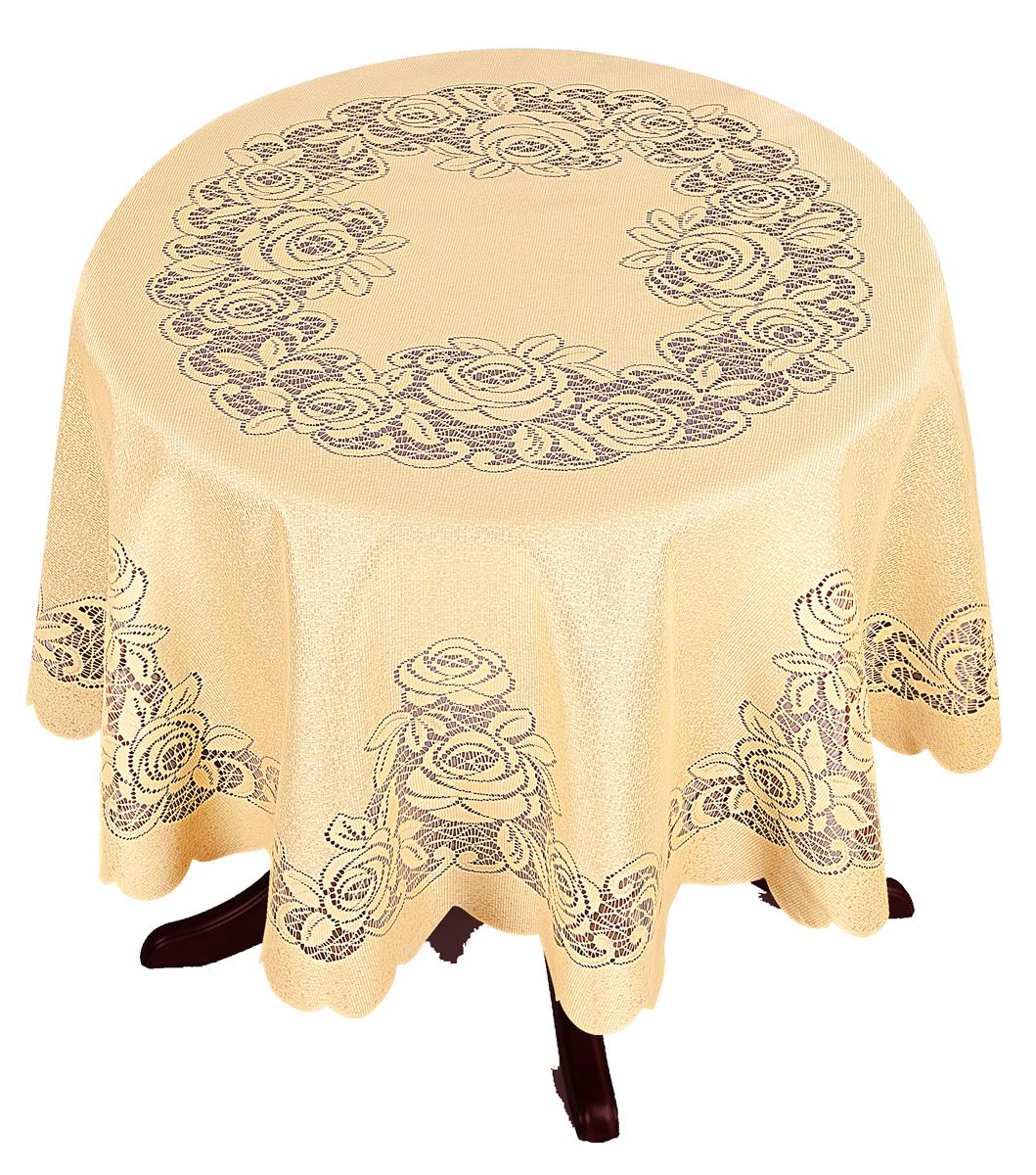 Скатерть Zlata Korunka, круглая, цвет: золотистый, диаметр 175 см80009Великолепная скатерть Zlata Korunka, выполненная из полиэстера, органично впишется в интерьер любого помещения, а оригинальный дизайн удовлетворит даже самый изысканный вкус. Она создаст праздничное настроение и станет прекрасным дополнением интерьера гостиной, кухни или столовой.