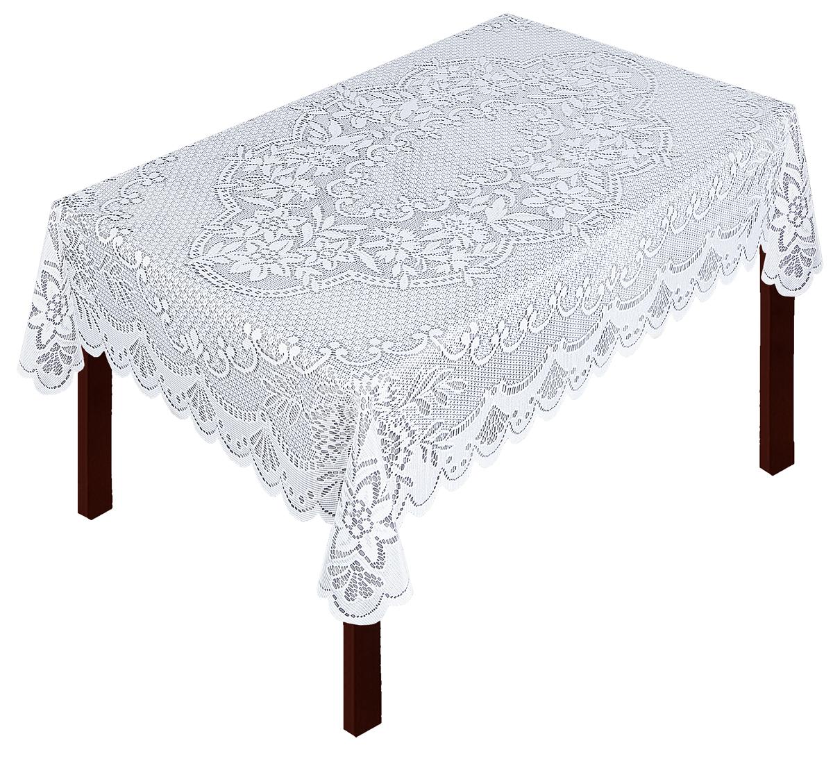 Скатерть Zlata Korunka, прямоугольная, цвет: белый, 120 х 97 см80022Скатерть выполнена из полиэстера жаккардового переплетения, не скользит со стола, легко стирается и прослужит Вам долгое время. Скатерть - длина 165 х шир.150