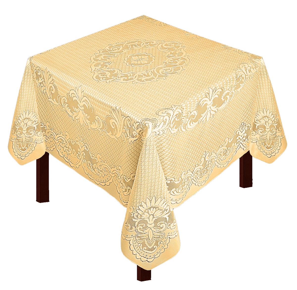Скатерть Zlata Korunka, прямоугольная, цвет: золотистый, 175 х 165 см80028Скатерть выполнена из полиэстера жаккардового переплетения, не скользит со стола, легко стирается и прослужит Вам долгое время. Скатерть - длина 165 х шир.150