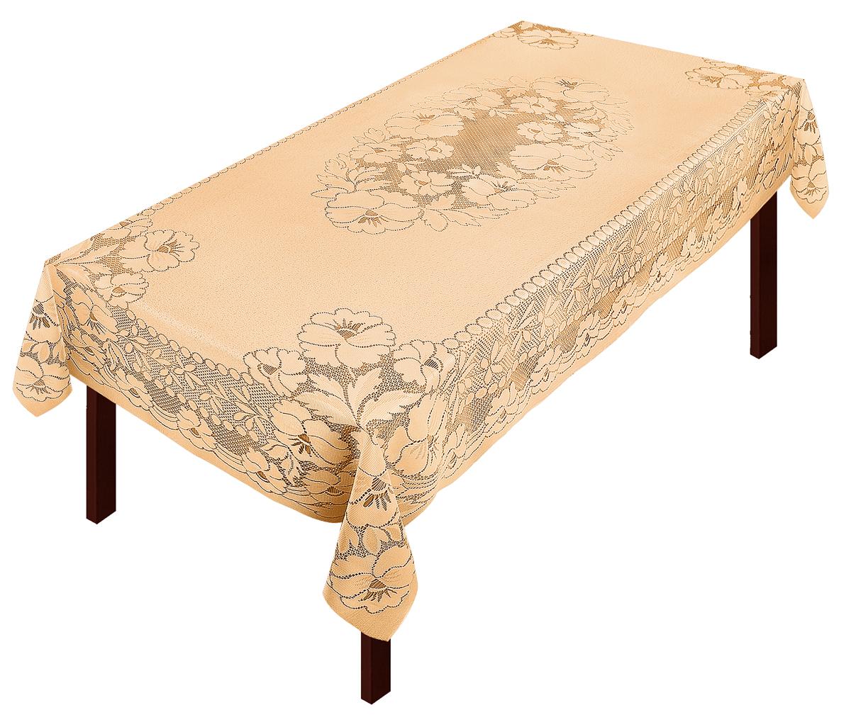 Скатерть Zlata Korunka, прямоугольная, цвет: золотистый, 250 х 150 см80034Скатерть выполнена из полиэстера жаккардового переплетения, не скользит со стола, легко стирается и прослужит Вам долгое время.