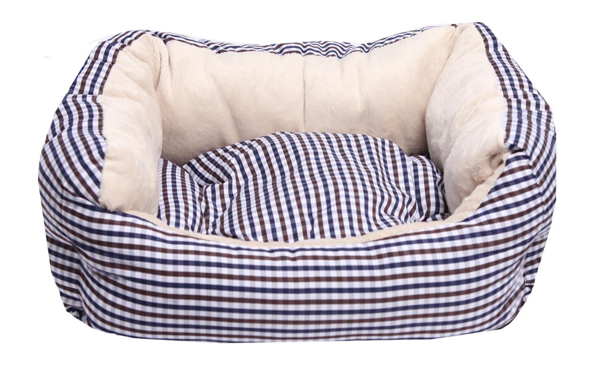 Лежанка для собак Lion Manufactory Модерн, цвет: синий, размер M, 55 х 50 х 12 смLM4694-002Премиальная лежанка из хлопка с плюшевым мехом. Размер лежанки: 550х500х120 мм. Размер спального места: 410х370 мм.