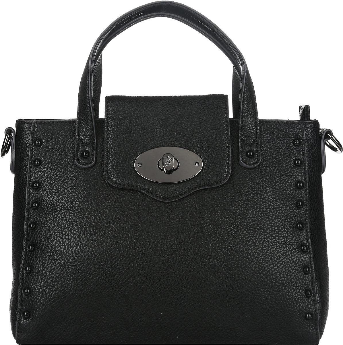 Сумка женская Jane Shilton, цвет: черный. 20732073blСтильная женская сумка Jane Shilton выполнена из искусственной кожи с фактурным тиснением и оформлена декоративными металлическими заклепками. Изделие имеет одно основное отделение, закрывающееся на застежку-молнию. Внутри находятся прорезной карман на застежке-молнии и накладной открытый карман. Закрывается сумка на широкий хлястик с поворотным замком. Снаружи, на задней стенке расположен прорезной карман на застежке-молнии. Модель оснащена двумя удобными ручками. В комплект входит съемный плечевой ремень. Роскошная сумка внесет элегантные нотки в ваш образ и подчеркнет ваше отменное чувство стиля.