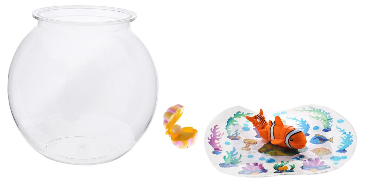 Redwood Интерактивная игрушка Рыбка-акробат с аквариумом126215-1Интерактивная игрушка Redwood Рыбка-акробат с аквариумом произведет большое впечатление на детей и их родителей. В набор входит небольшой прозрачный аквариум, который необходимо наполнить пятью литрами воды и фигурка интерактивной рыбки. В комплекте также имеется ракушка с жемчужиной и разные украшения для аквариума, которые можно наклеить на свой вкус. Рыбка умеет плавать под водой, нырять, выскакивать из воды и делать сальто на глубине. После окончания игры всегда вынимайте игрушку из воды. Рыбка работает от двух батареек типа ААА (в комплект не входят).