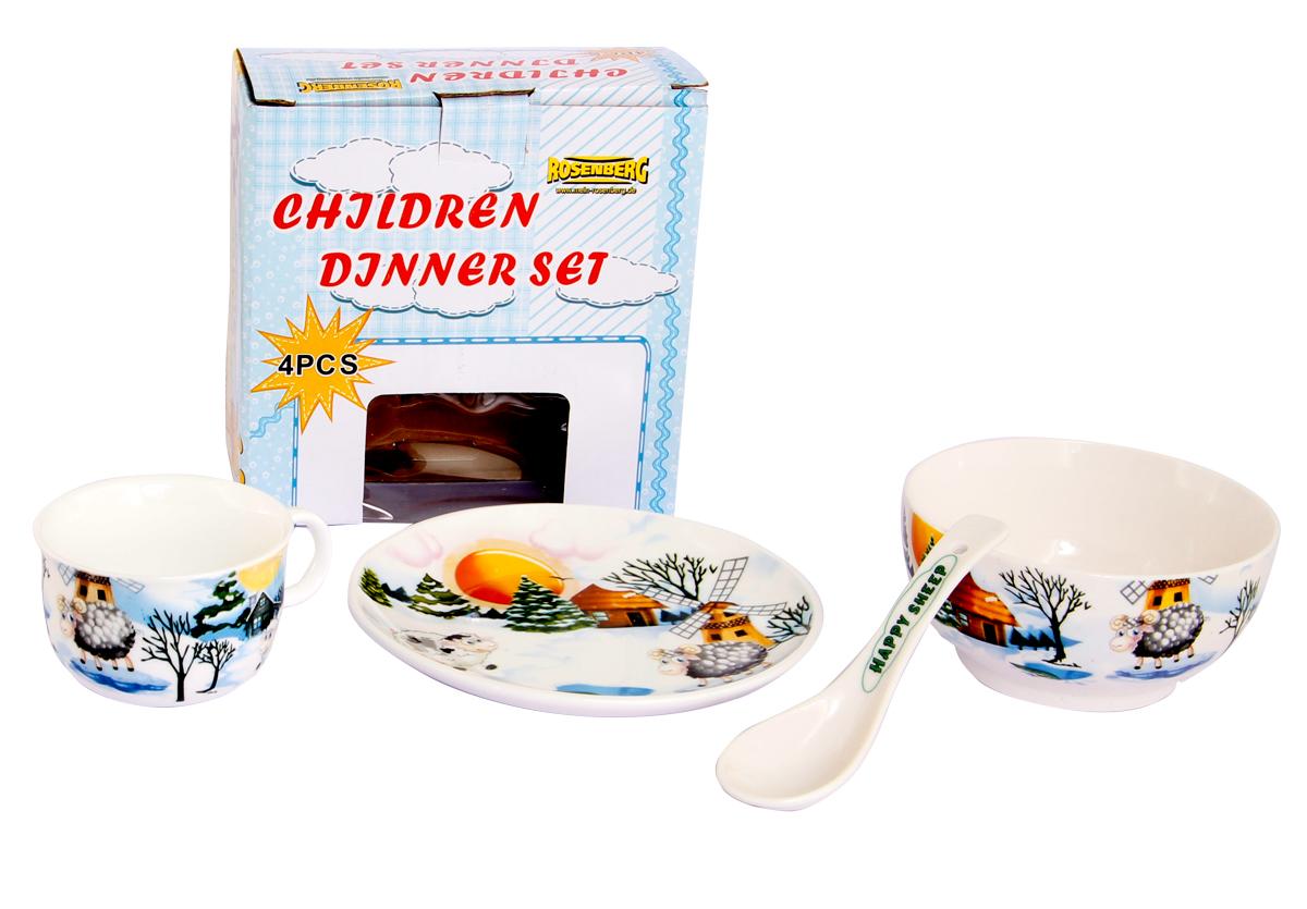 Rosenberg Набор детской посуды 879703807000167Набор детской посуды Rosenberg, 4 предмета: 1 глубокая тарелка d=15 см, 1 плоская тарелка d=18 см, 1 кружка 180 мл, 1 ложка 14 см Материал: керамика