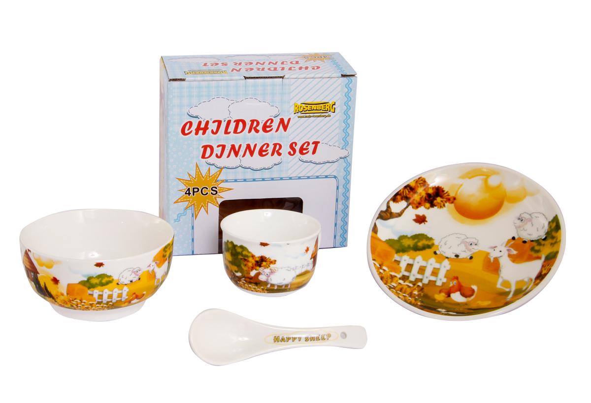 Rosenberg Набор детской посуды 879693807000166Набор детской посуды Rosenberg, 4 предмета: 1 глубокая тарелка d=15 см, 1 плоская тарелка d=18 см, 1 кружка 180 мл, 1 ложка 14 см Материал: керамика